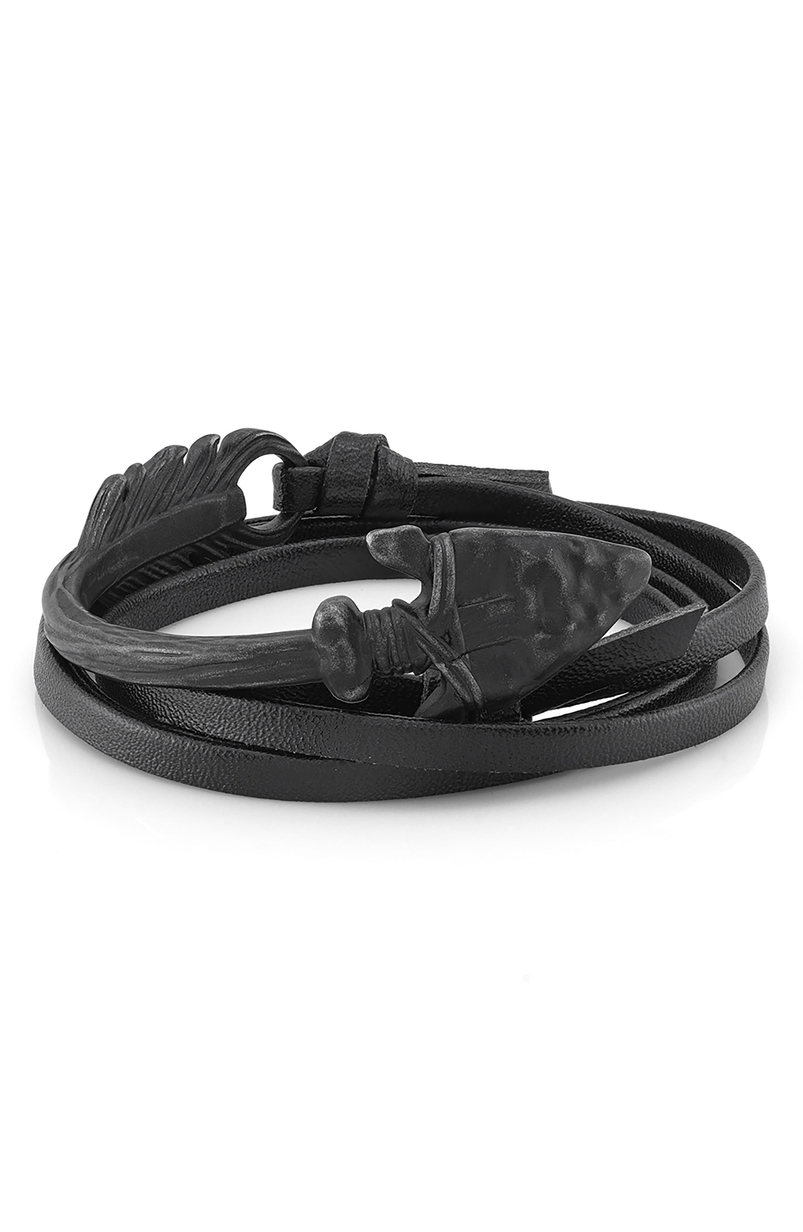 Arrow Leather Wrap Bracelet,                         Main,                         color, 001