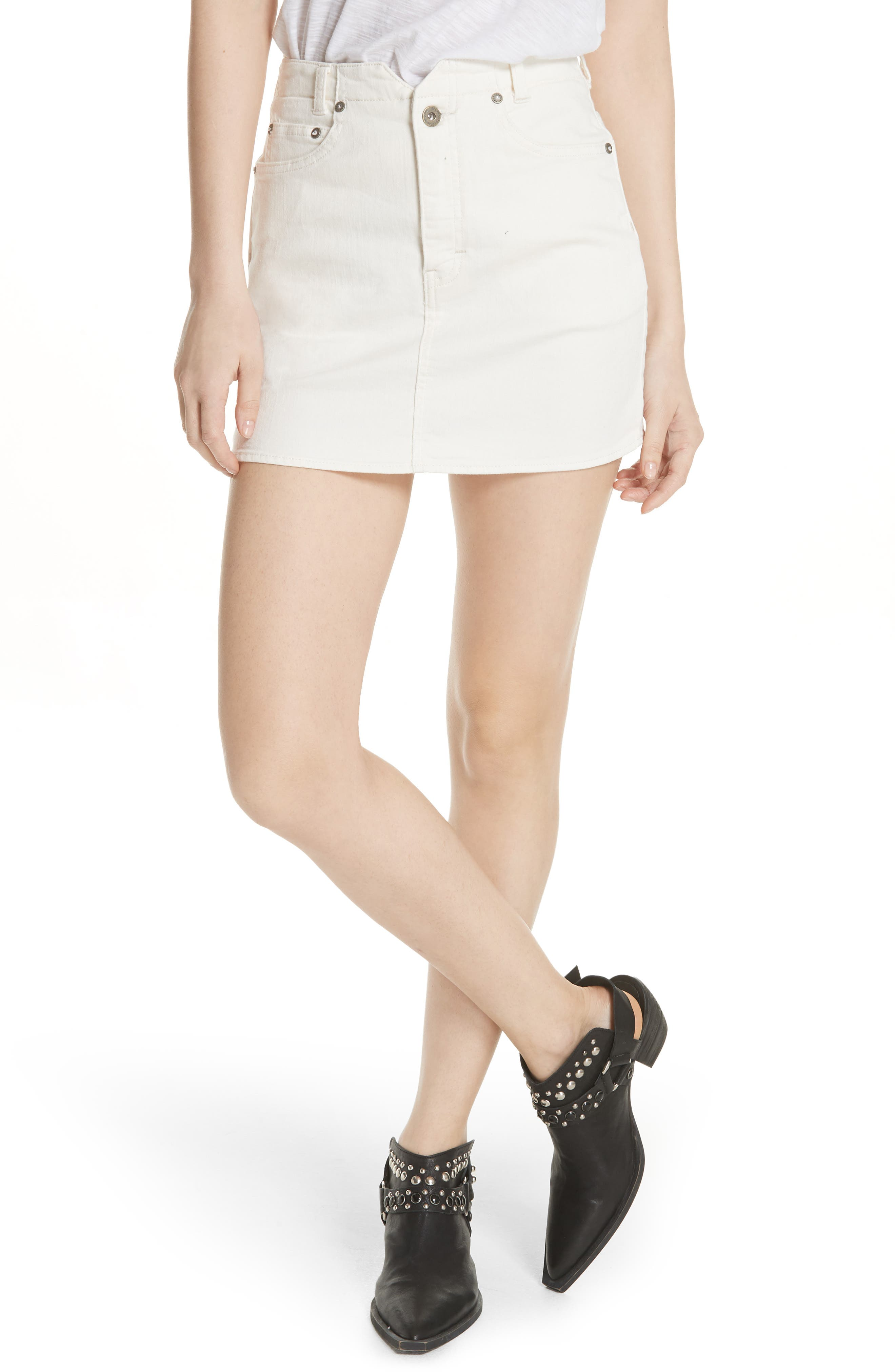She's All That Denim Skirt,                             Main thumbnail 1, color,                             WHITE
