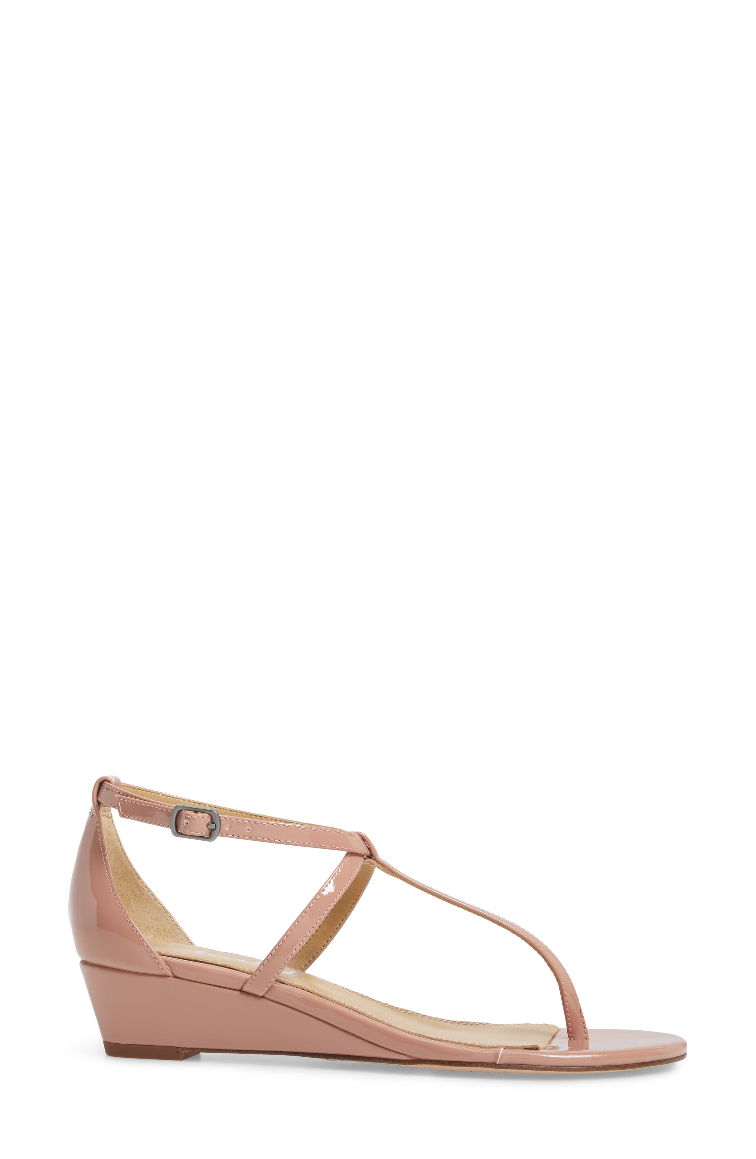 Bryce T-Strap Wedge Sandal,                             Alternate thumbnail 3, color,                             DARK BLUSH PATENT