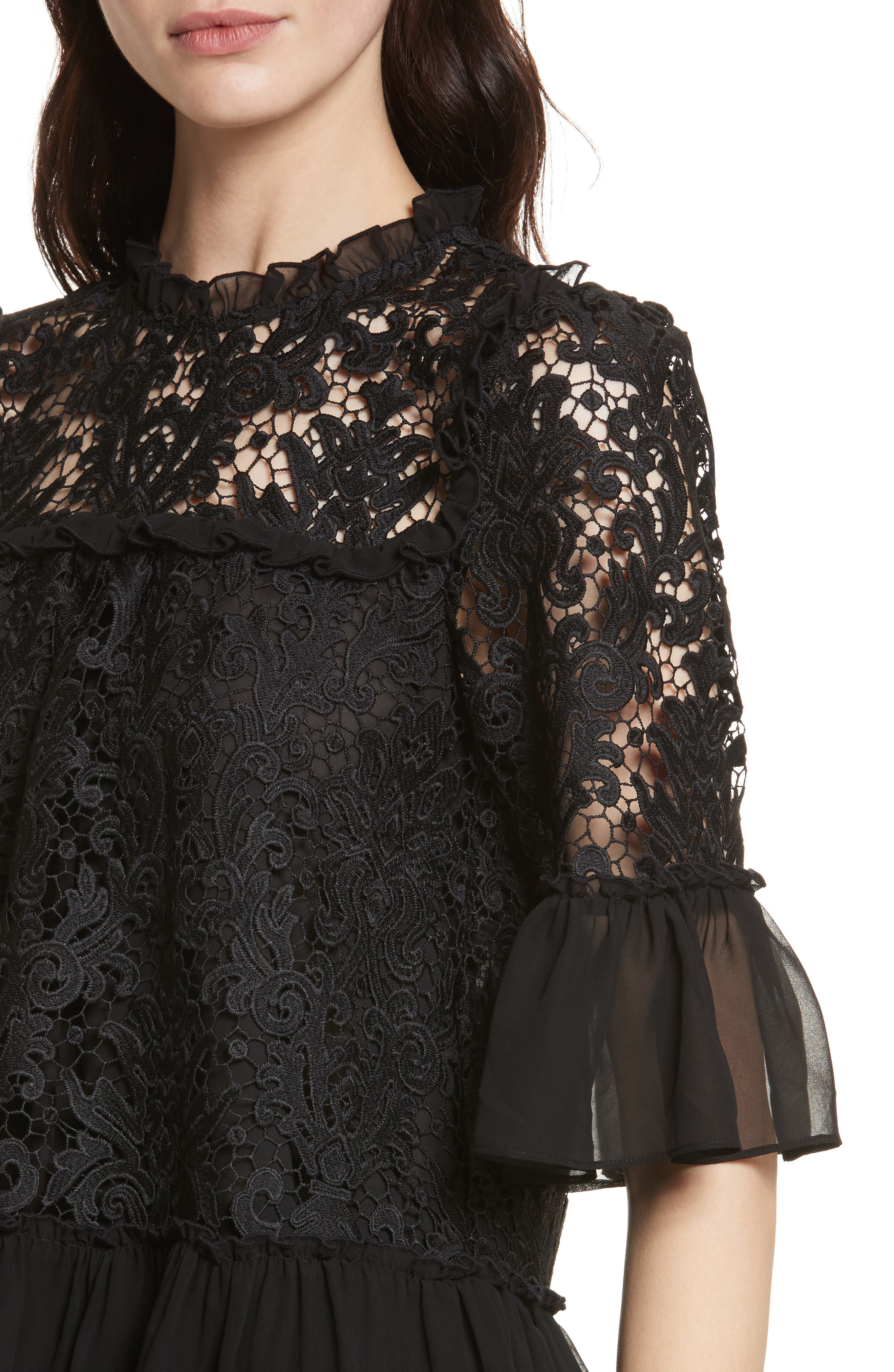 kate spade tapestry lace top,                             Alternate thumbnail 4, color,                             001