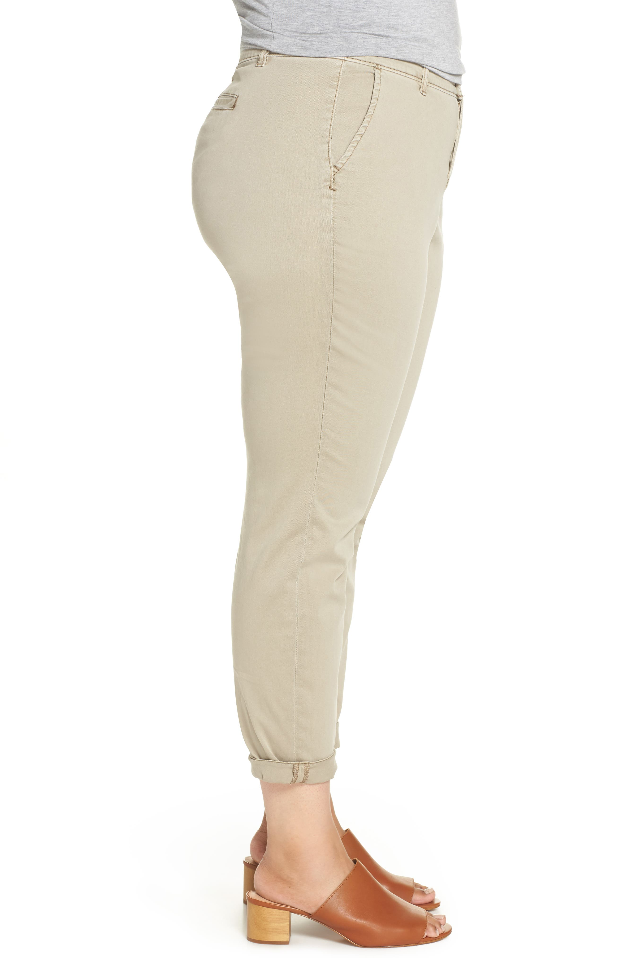 CASLON<SUP>®</SUP>,                             Boyfriend Stretch Cotton Chino Pants,                             Alternate thumbnail 3, color,                             TAN COBBLESTONE