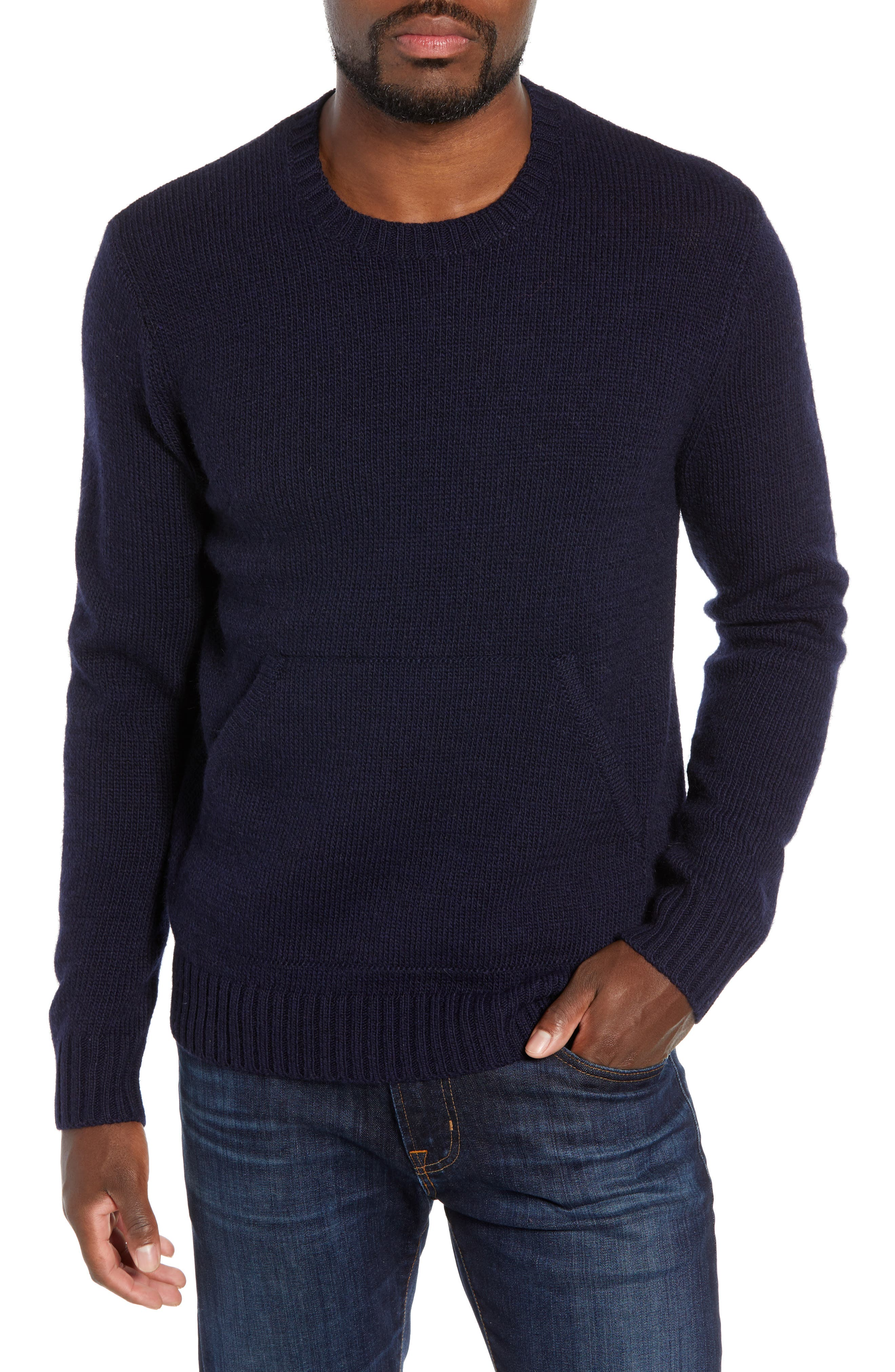BONOBOS Slim Fit Kangaroo Pocket Sweater in Navy