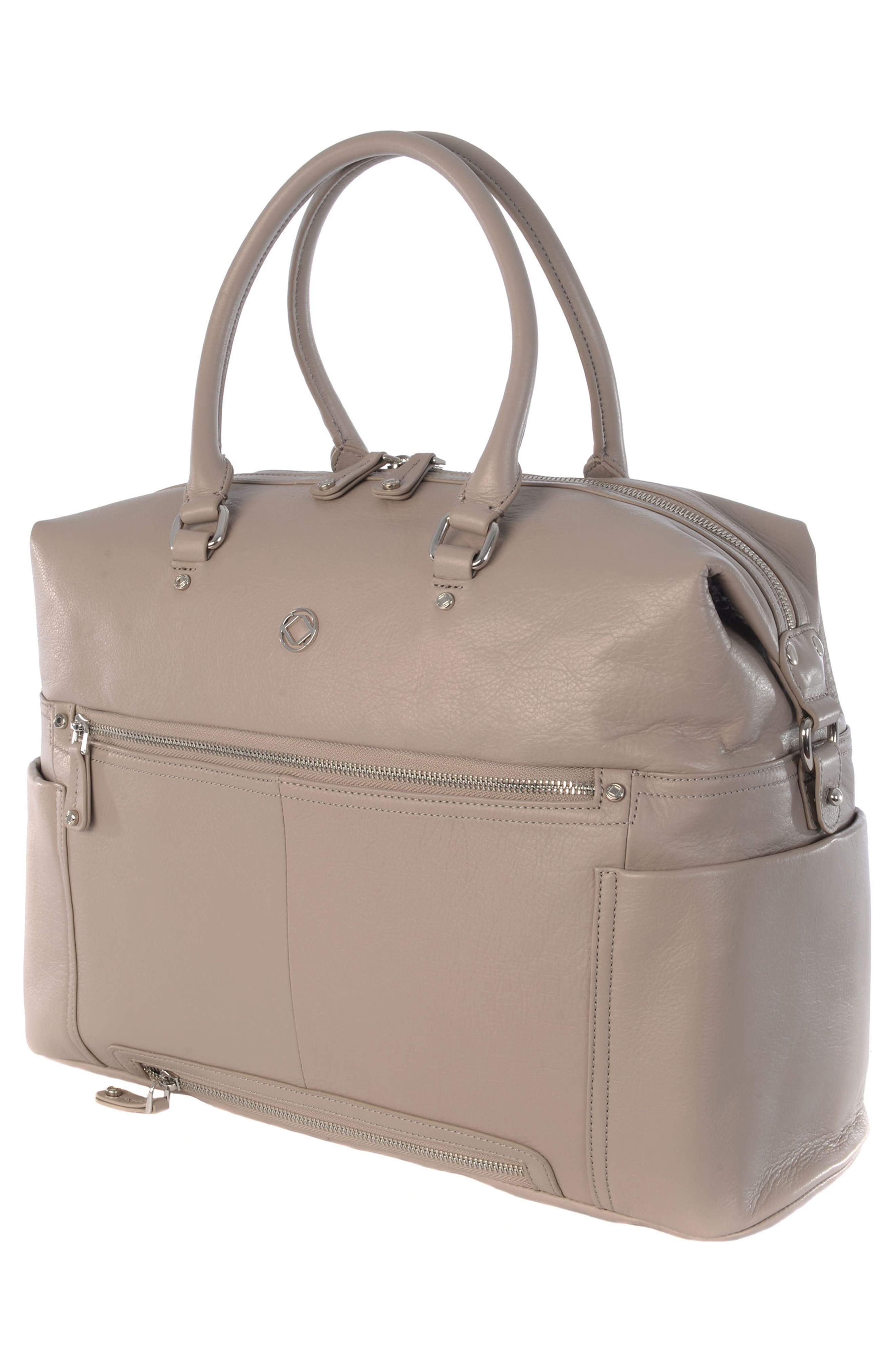Thea Leather Diaper Bag,                             Alternate thumbnail 4, color,                             WARM GREY/ SILVER