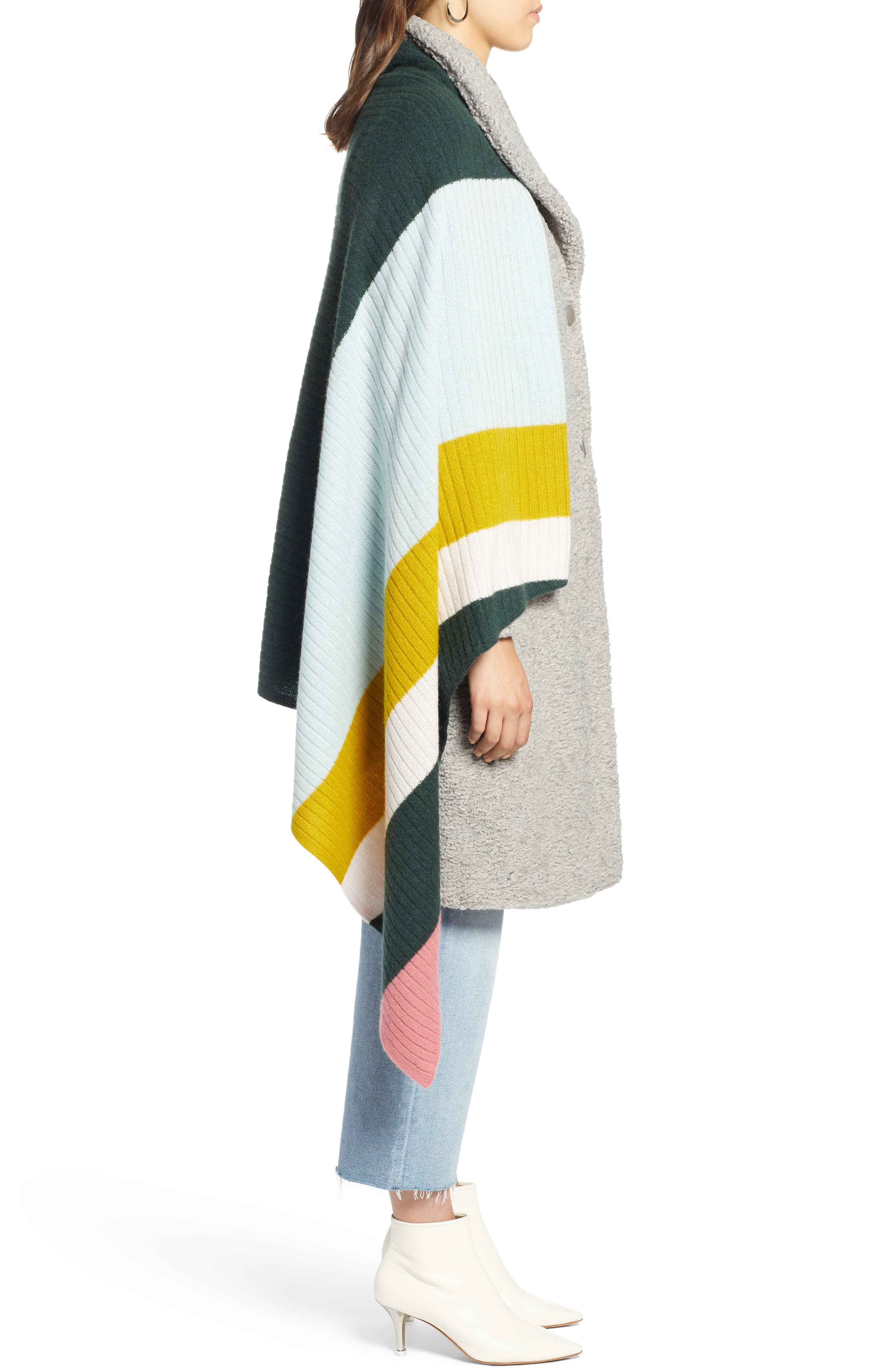 x Atlantic-Pacific Stripe Cashmere Wrap,                             Alternate thumbnail 4, color,                             660