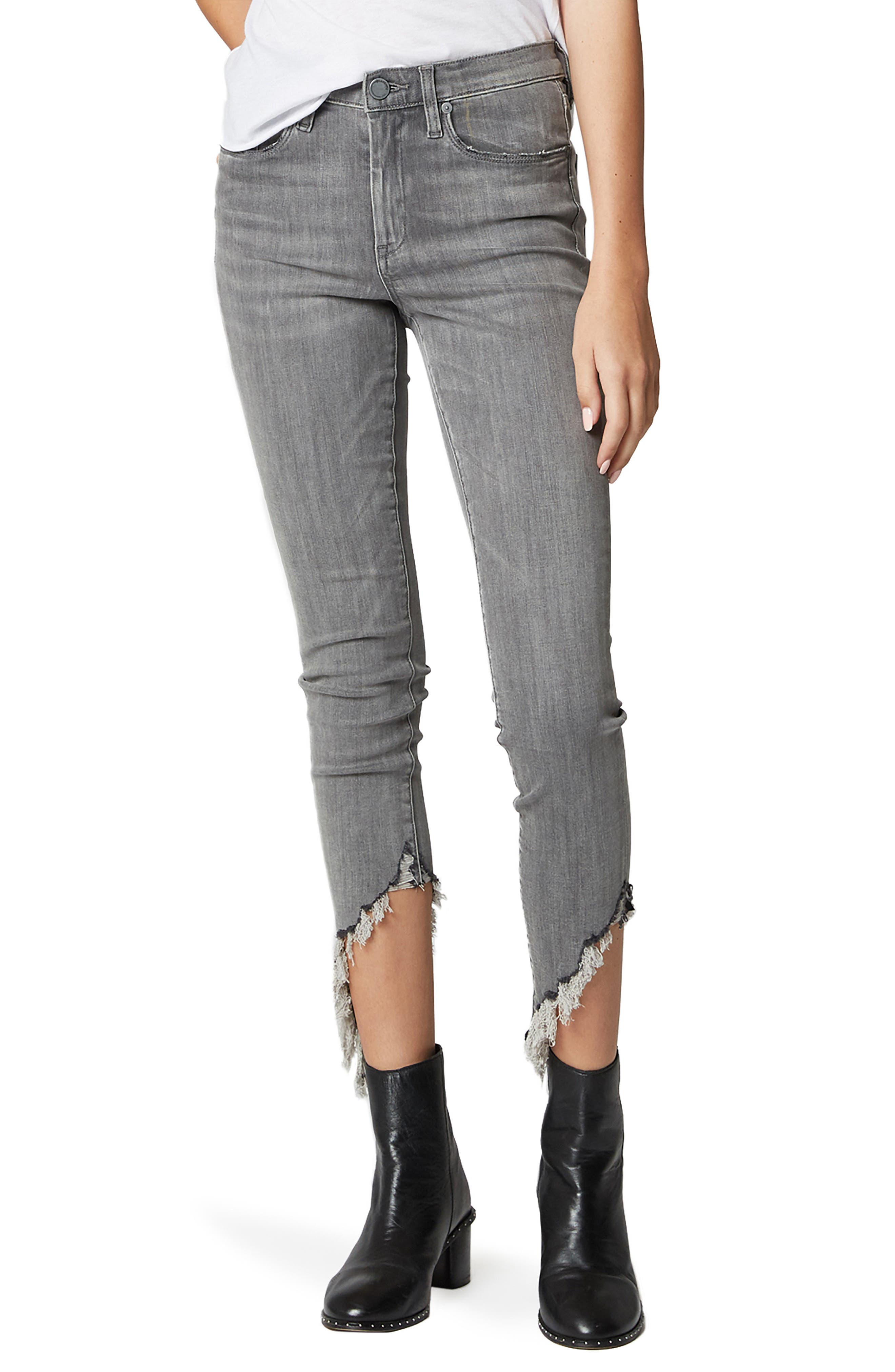 The Bond Asymmetrical Frayed Hem Skinny Jeans,                             Main thumbnail 1, color,                             SKY SCRAPER