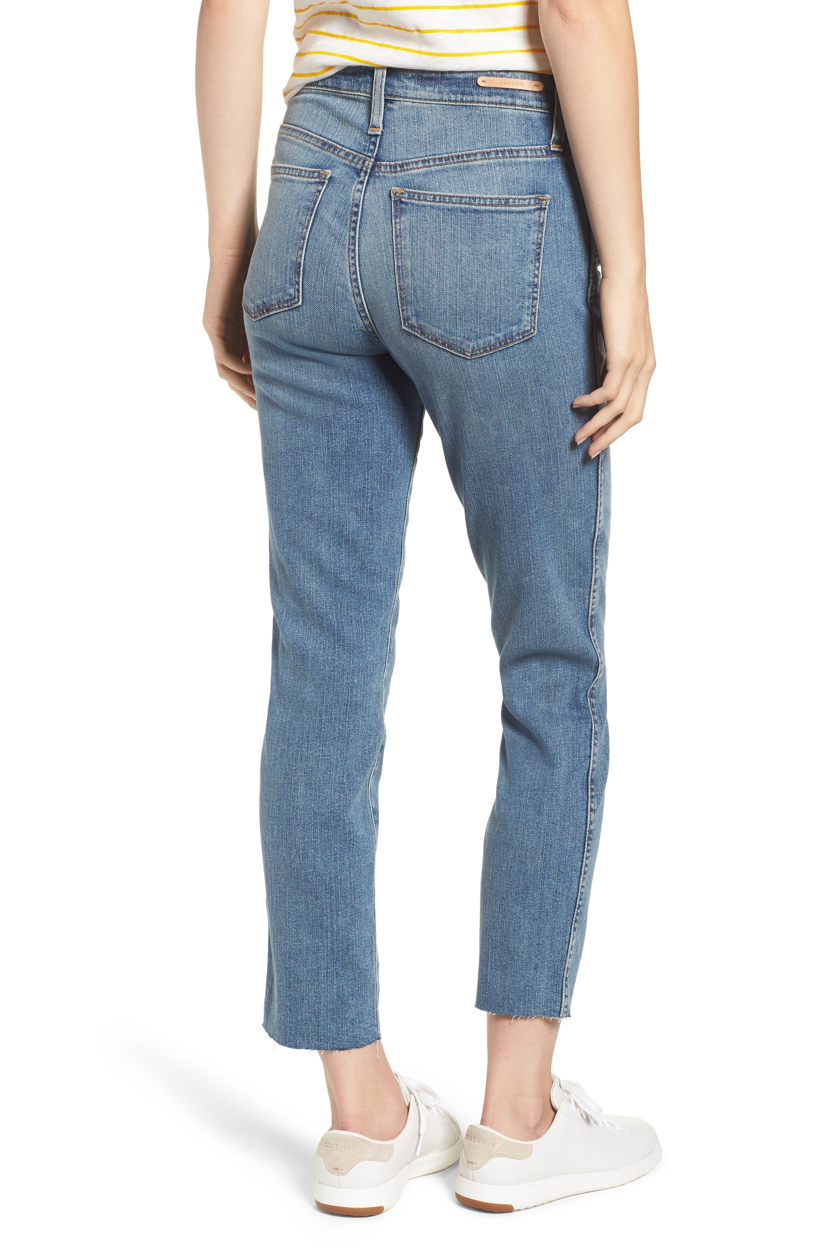 Raw Hem Slim Straight Leg Jeans,                             Alternate thumbnail 2, color,                             420
