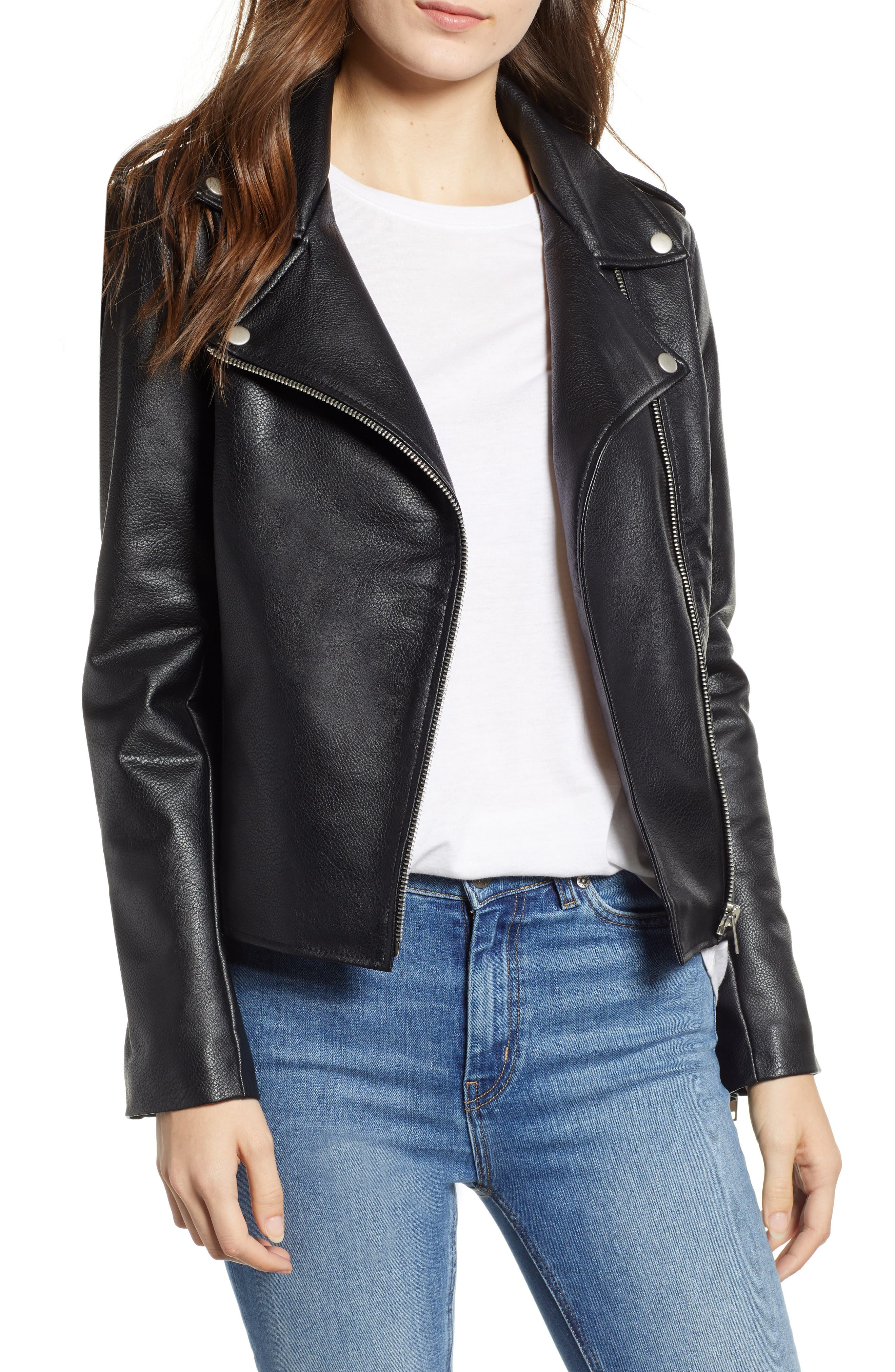 Just Ride Faux Leather Jacket,                             Main thumbnail 1, color,                             BLACK