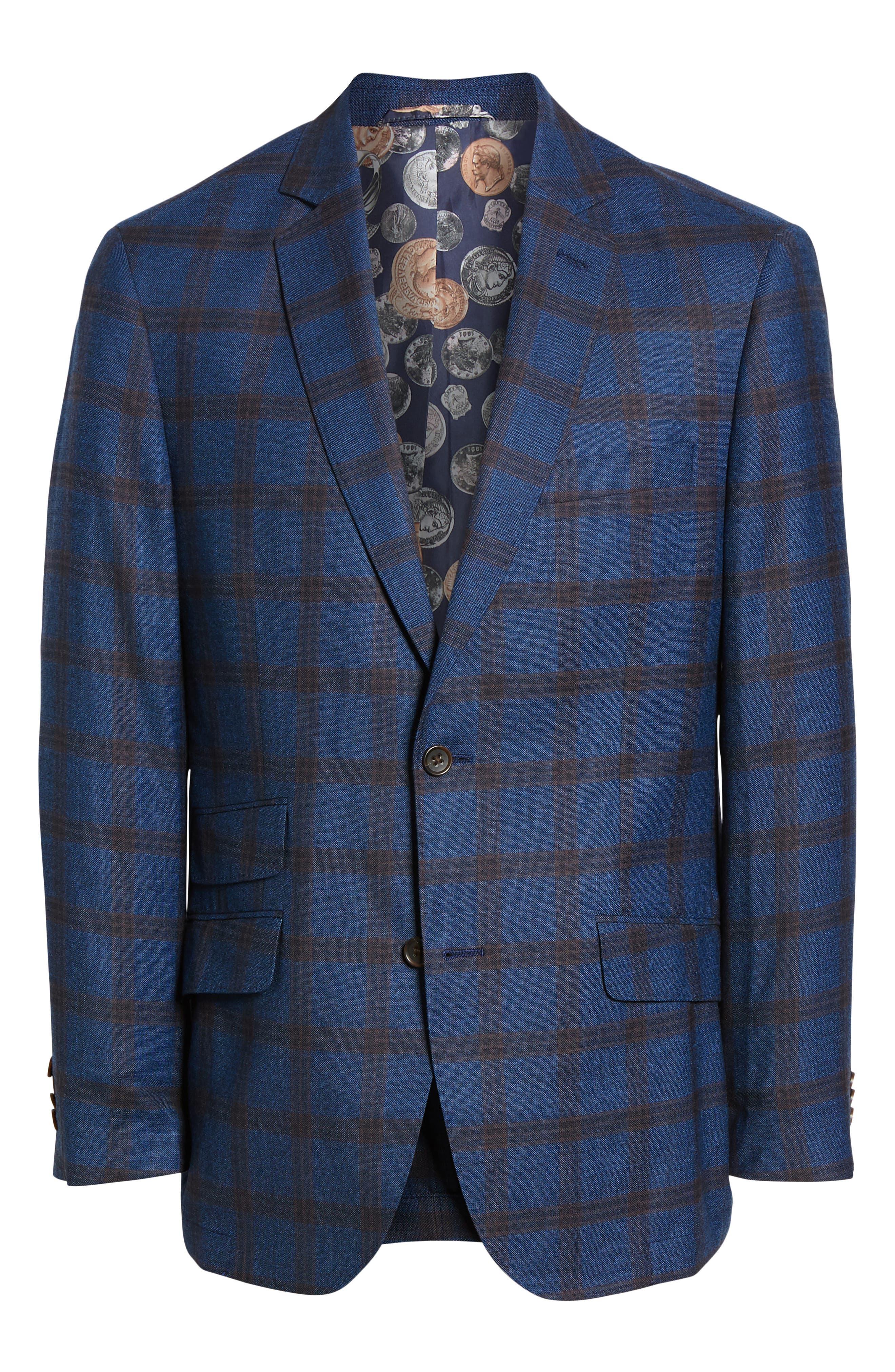 Regular Fit Windowpane Wool Sport Coat,                             Alternate thumbnail 5, color,                             BLUE