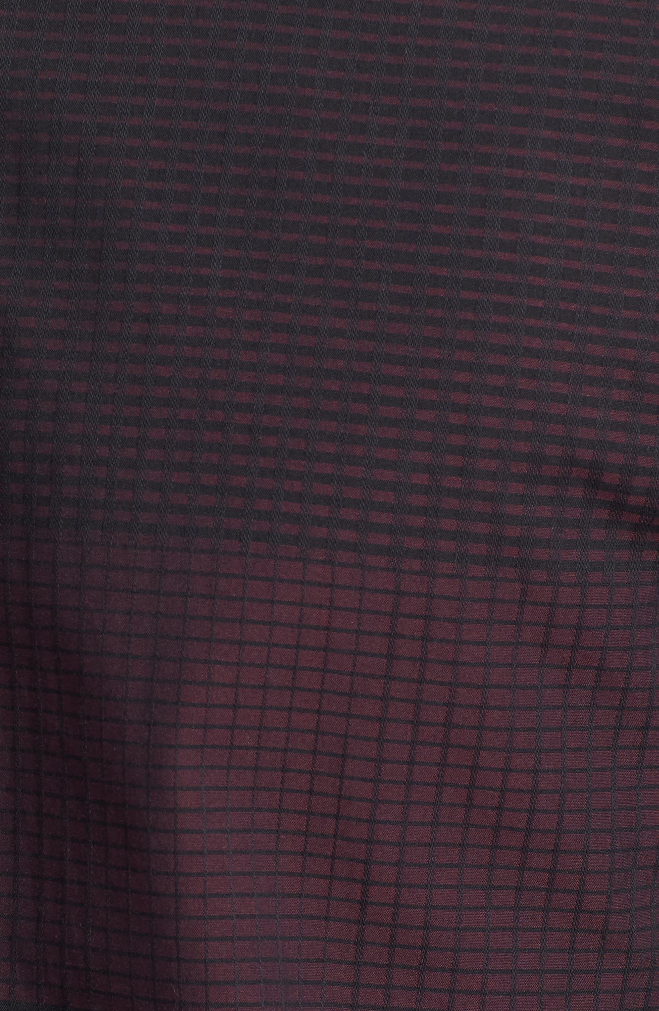 Slim Fit Check Plaid Sport Shirt,                             Alternate thumbnail 5, color,                             BURGUNDY/ BLACK CHECK PLAID