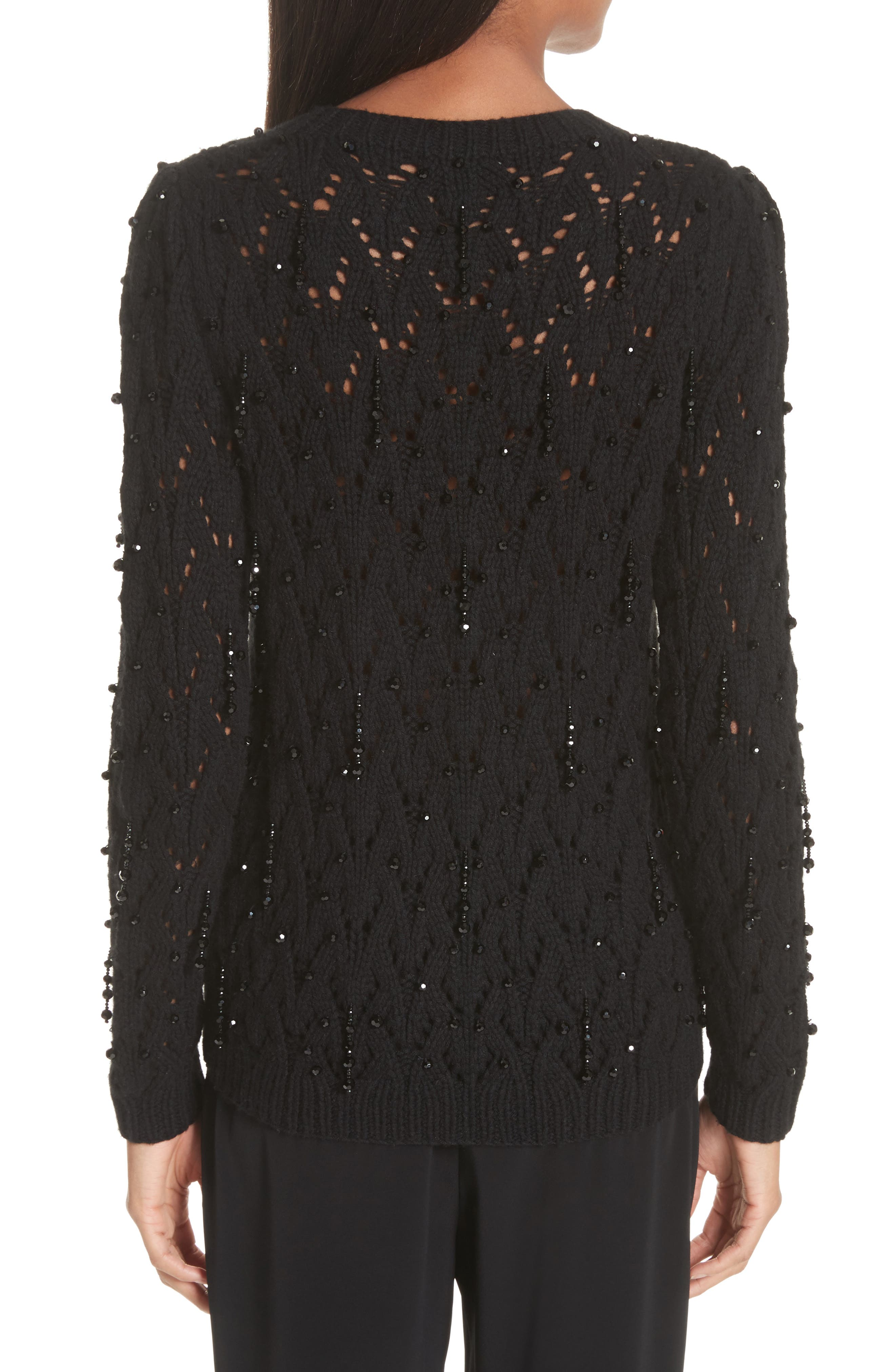 Beaded Wool & Cashmere Cardigan,                             Alternate thumbnail 2, color,                             BLACK