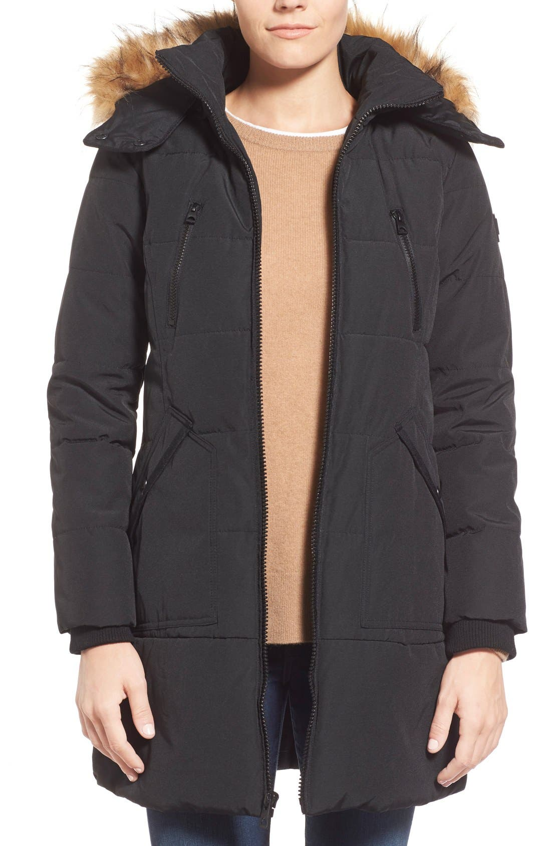 'Expedition' Quilted Parka with Faux Fur Trim,                             Main thumbnail 2, color,