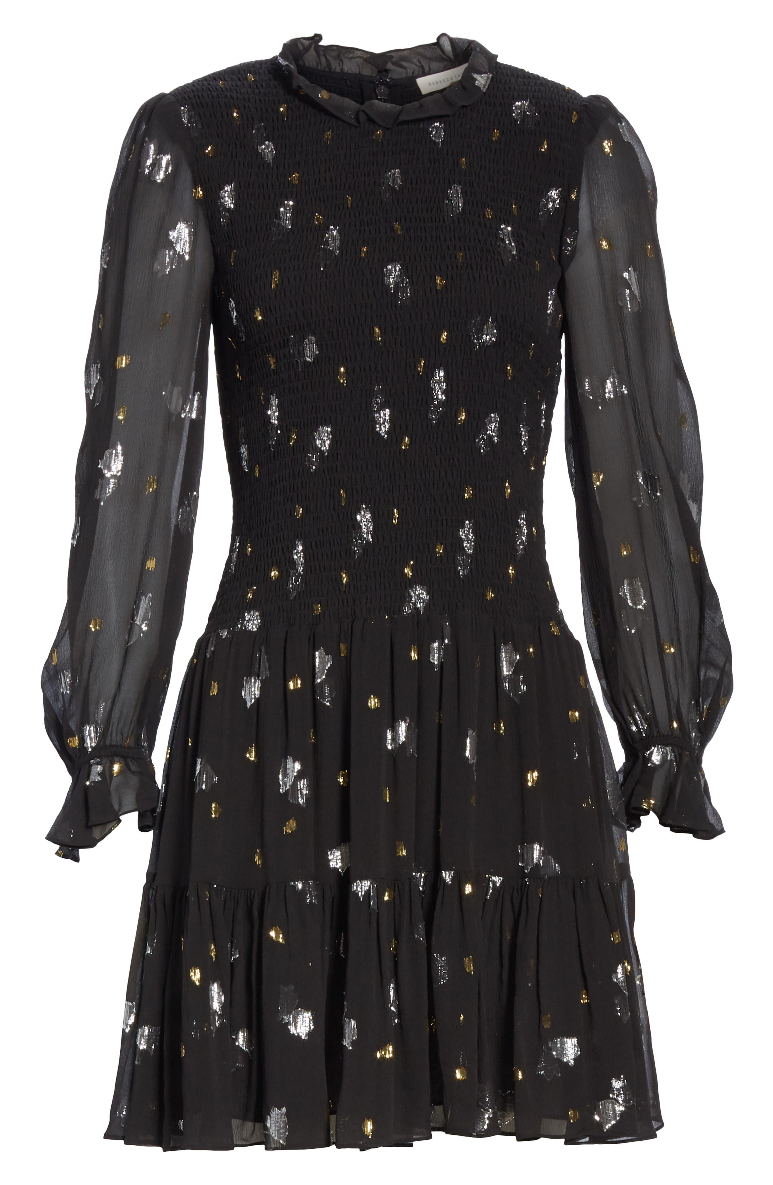 Scattered Metallic Tulip Silk Blend Dress,                             Alternate thumbnail 6, color,                             001