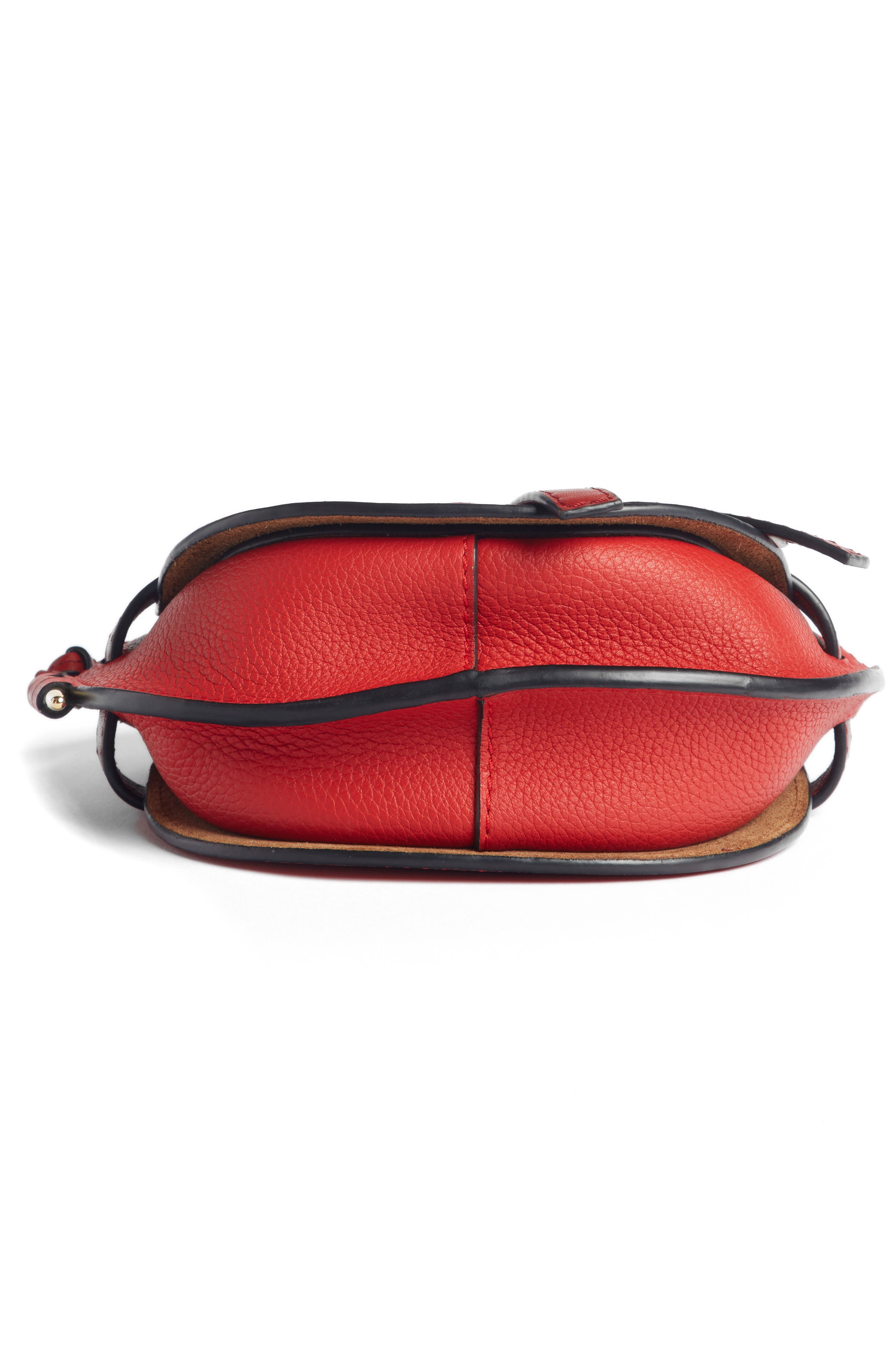 Small Gate Leather Crossbody Bag,                             Alternate thumbnail 5, color,                             SCARLET RED/ BURNT RED