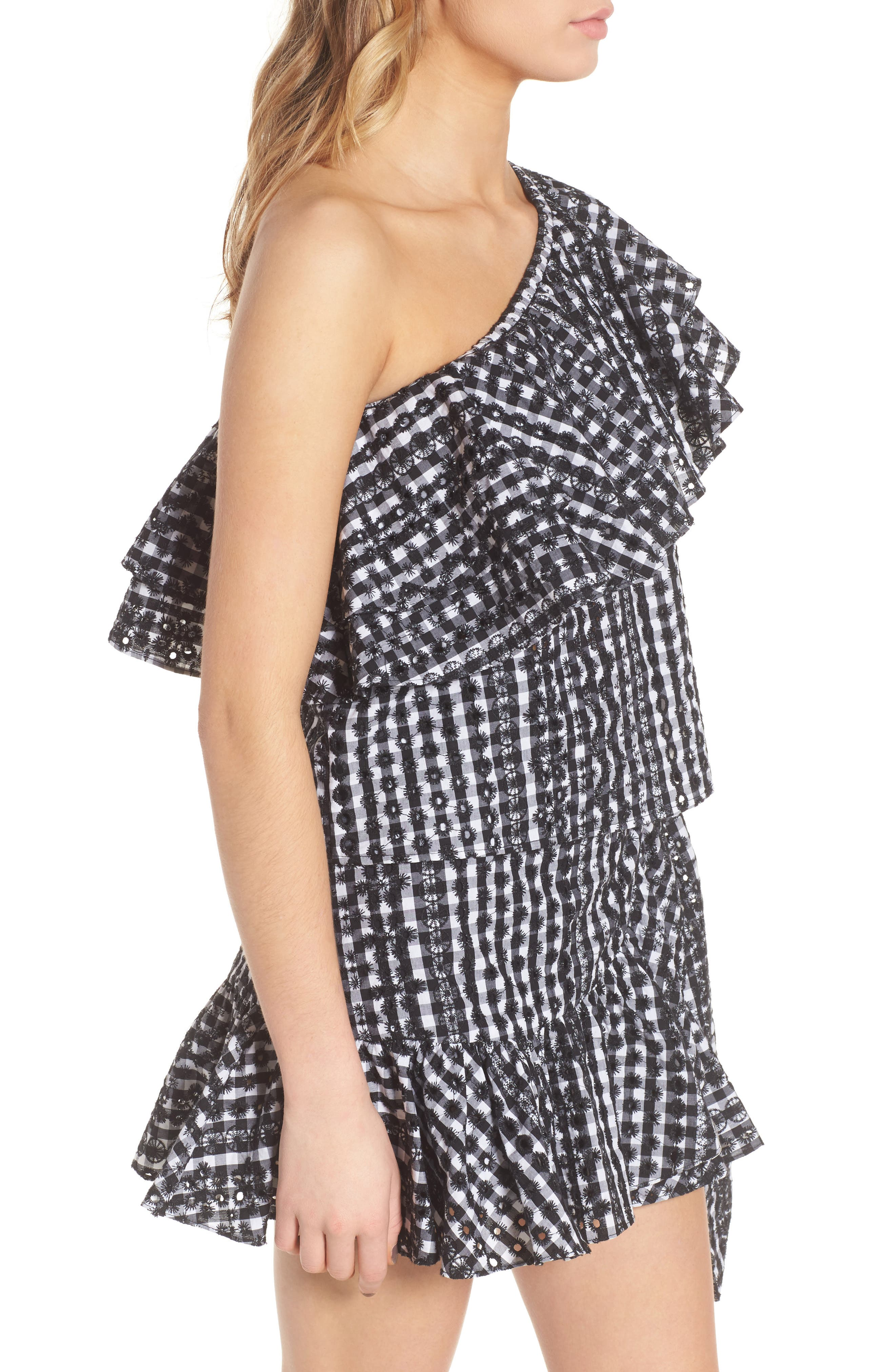 Lily Eyelet Gingham Top,                             Alternate thumbnail 3, color,                             004