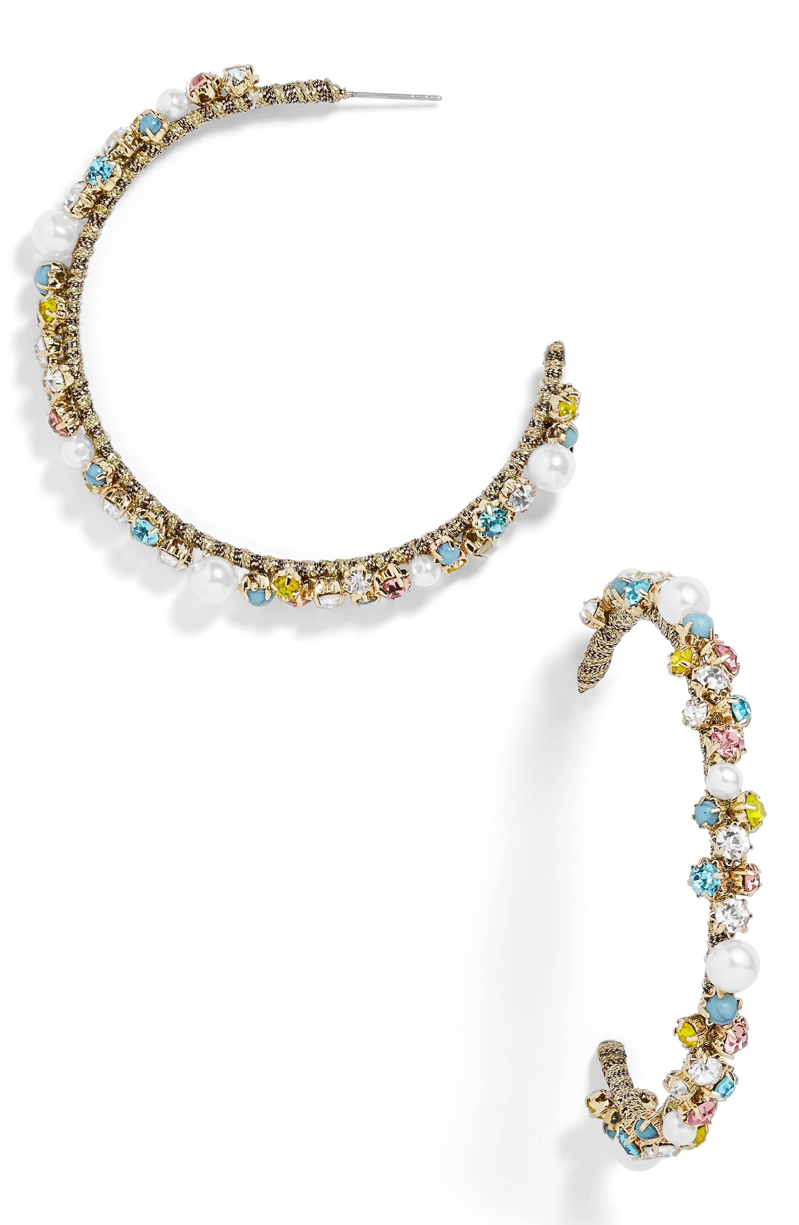 x Micaela Erlanger Glam on the Go Hoop Earrings,                         Main,                         color, 710