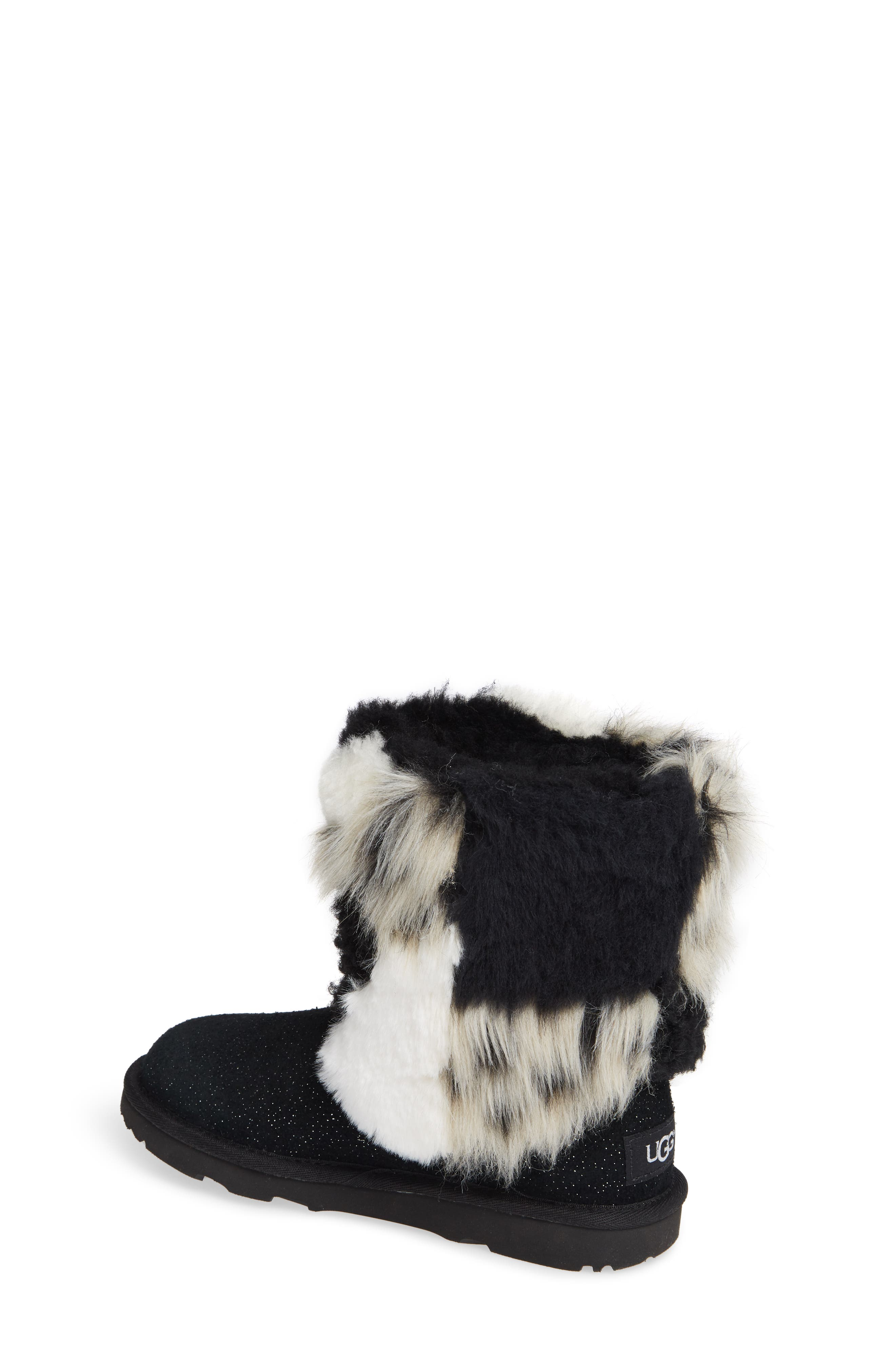 Classic Short Genuine Shearling & Faux Fur Patchwork Boot,                             Alternate thumbnail 2, color,                             001