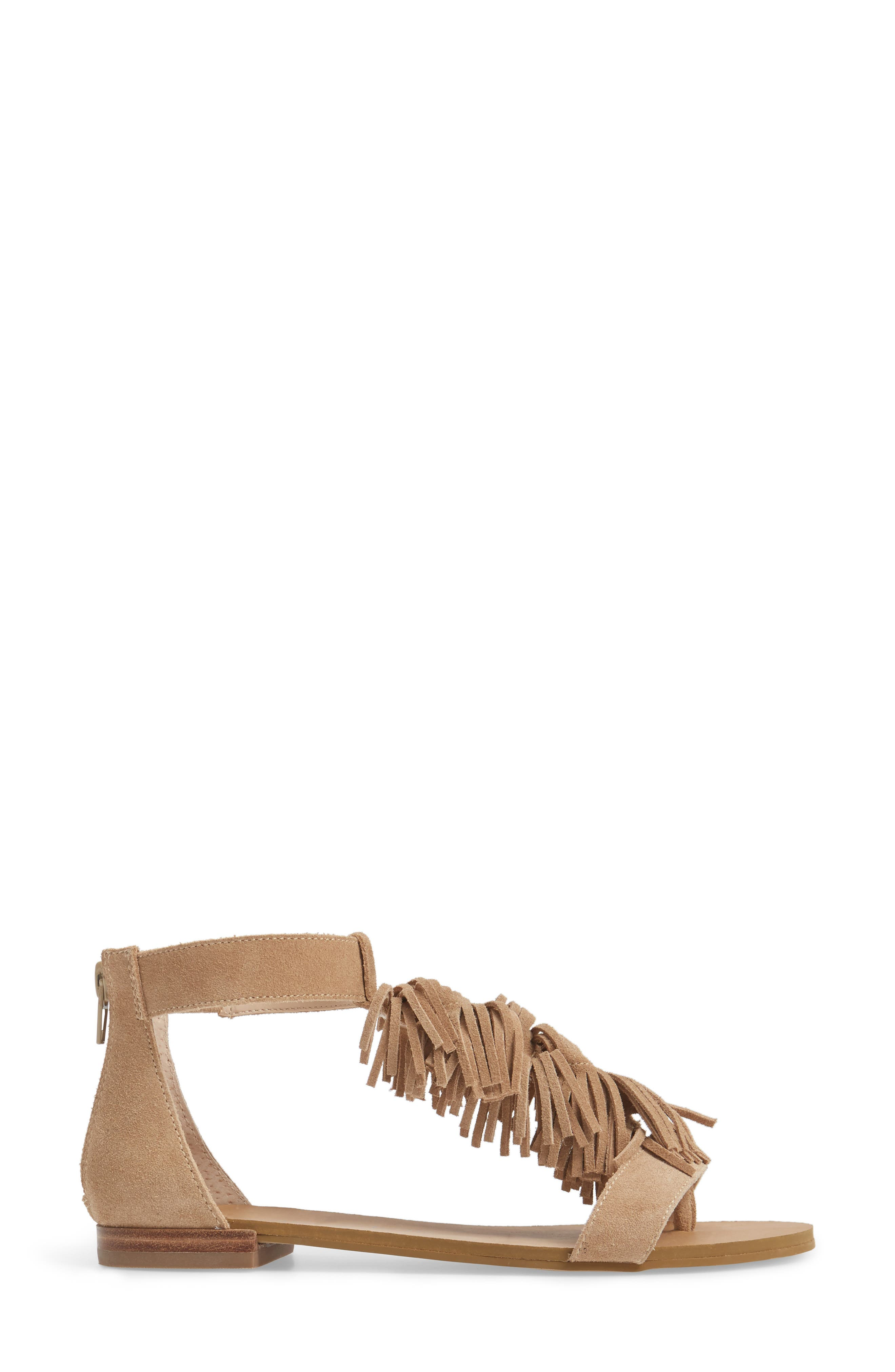 Koa Fringed T-Strap Sandal,                             Alternate thumbnail 3, color,                             200