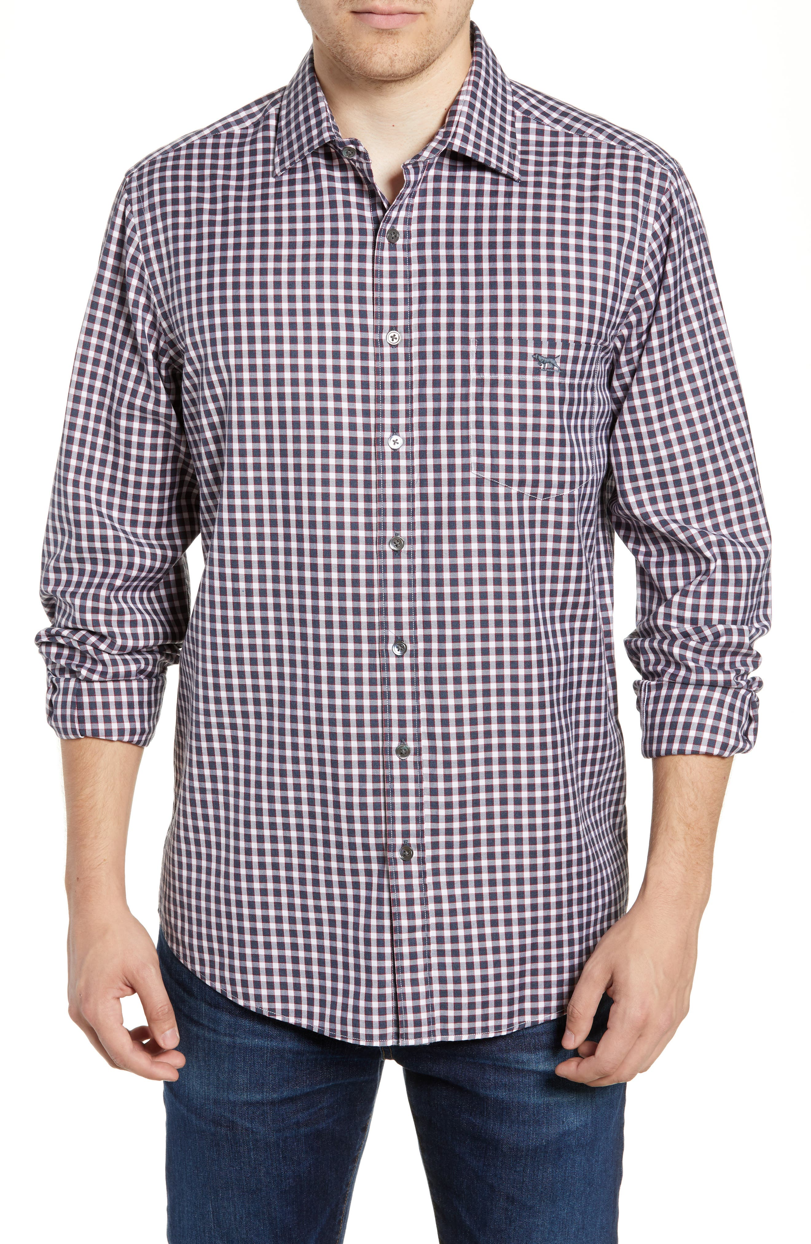 Botany Downs Regular Fit Sport Shirt,                         Main,                         color, CHARCOAL