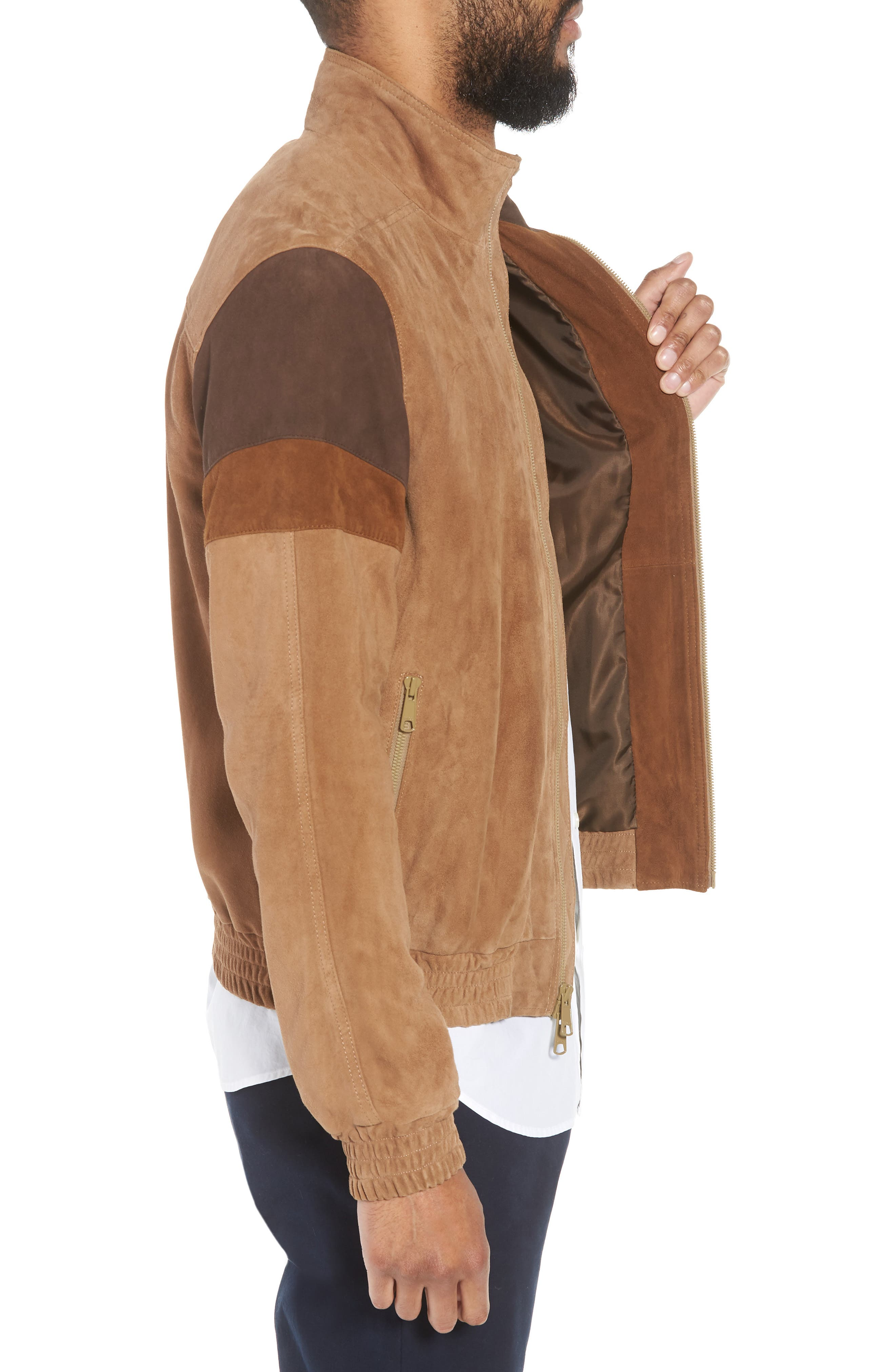Colorblock Leather Track Jacket,                             Alternate thumbnail 3, color,                             250