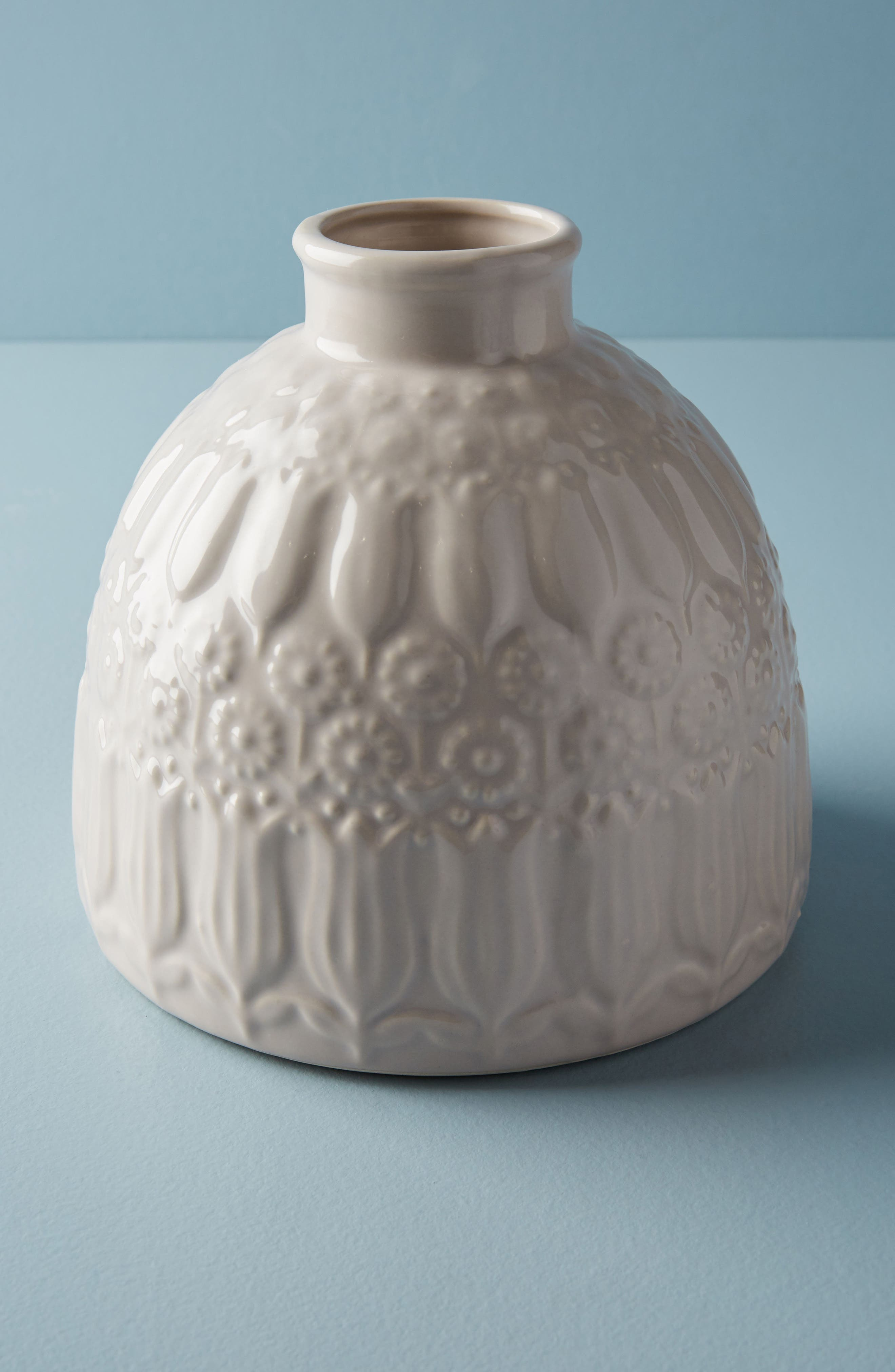 Embossed Floral Vase,                         Main,                         color, WHITE