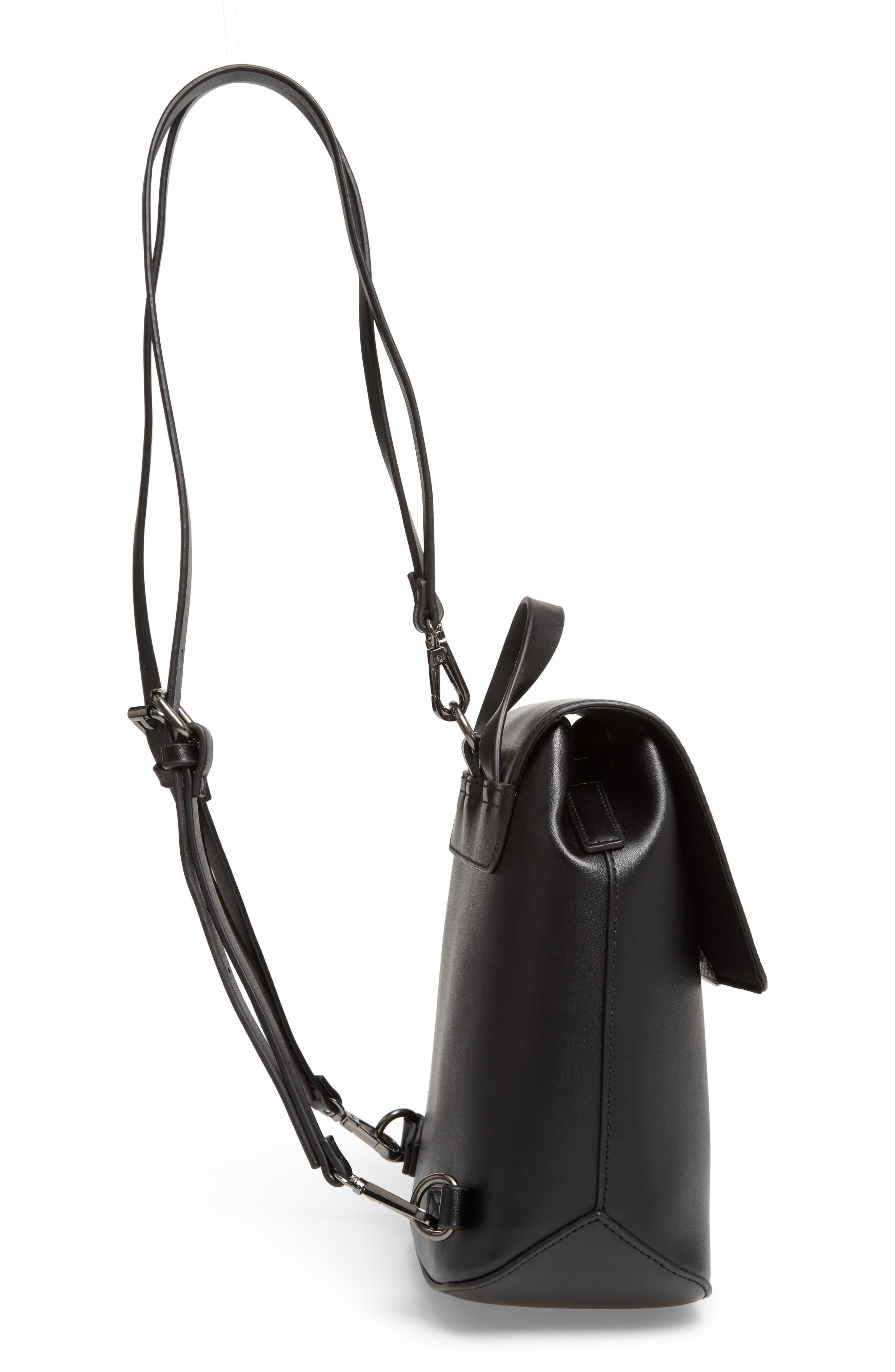 Faux Leather Mini Backpack,                             Alternate thumbnail 5, color,                             001
