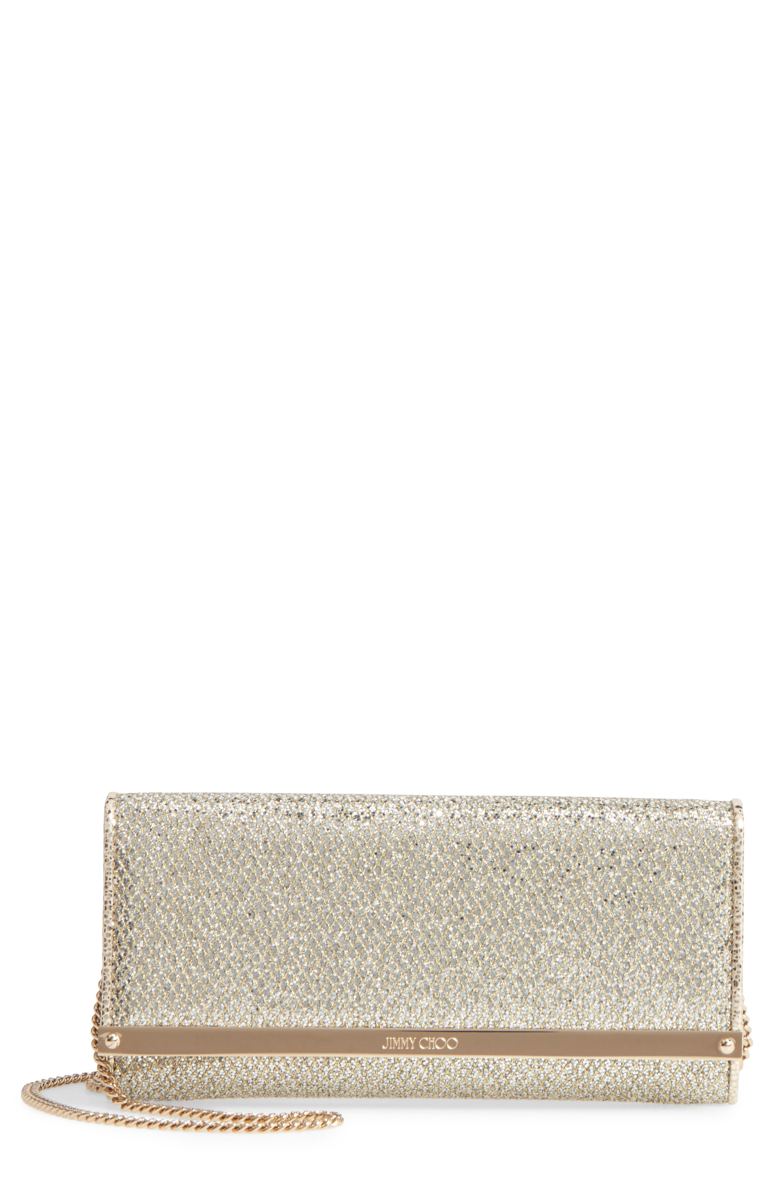'Milla' Glitter Wallet on a Chain,                         Main,                         color, CHAMPAGNE
