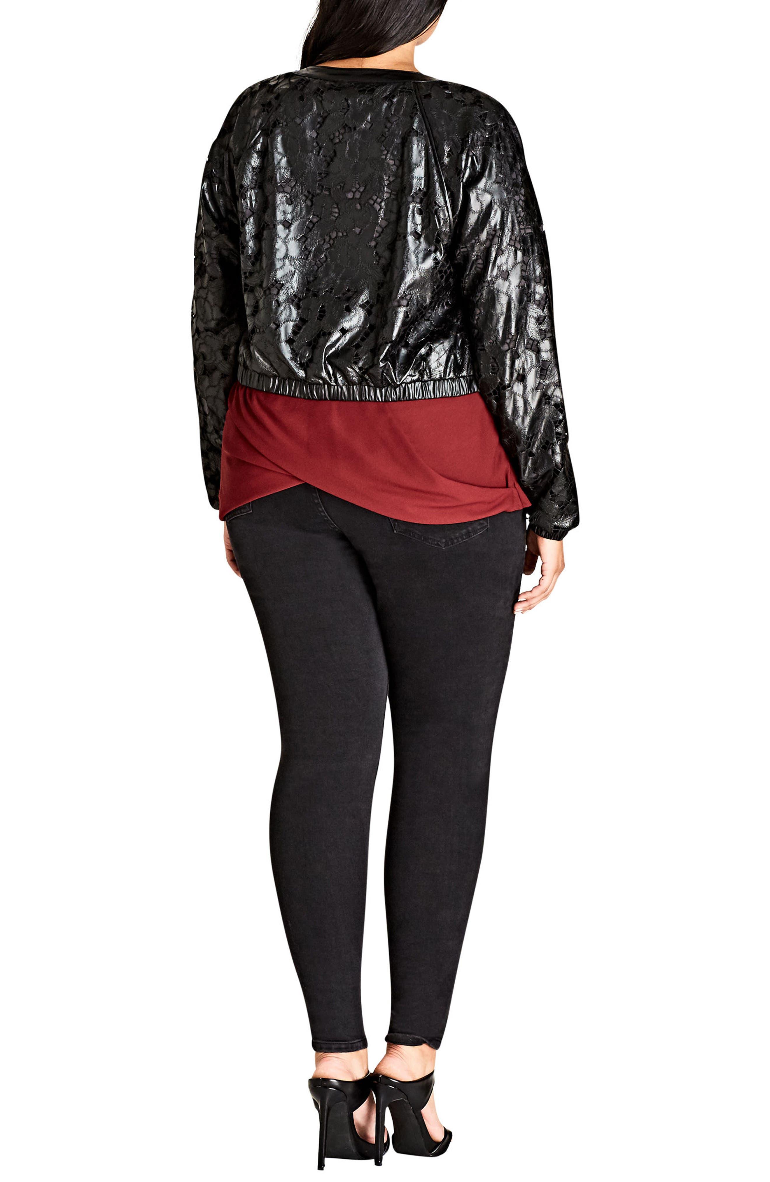Lace Faux Leather Bomber Jacket,                             Alternate thumbnail 2, color,                             001