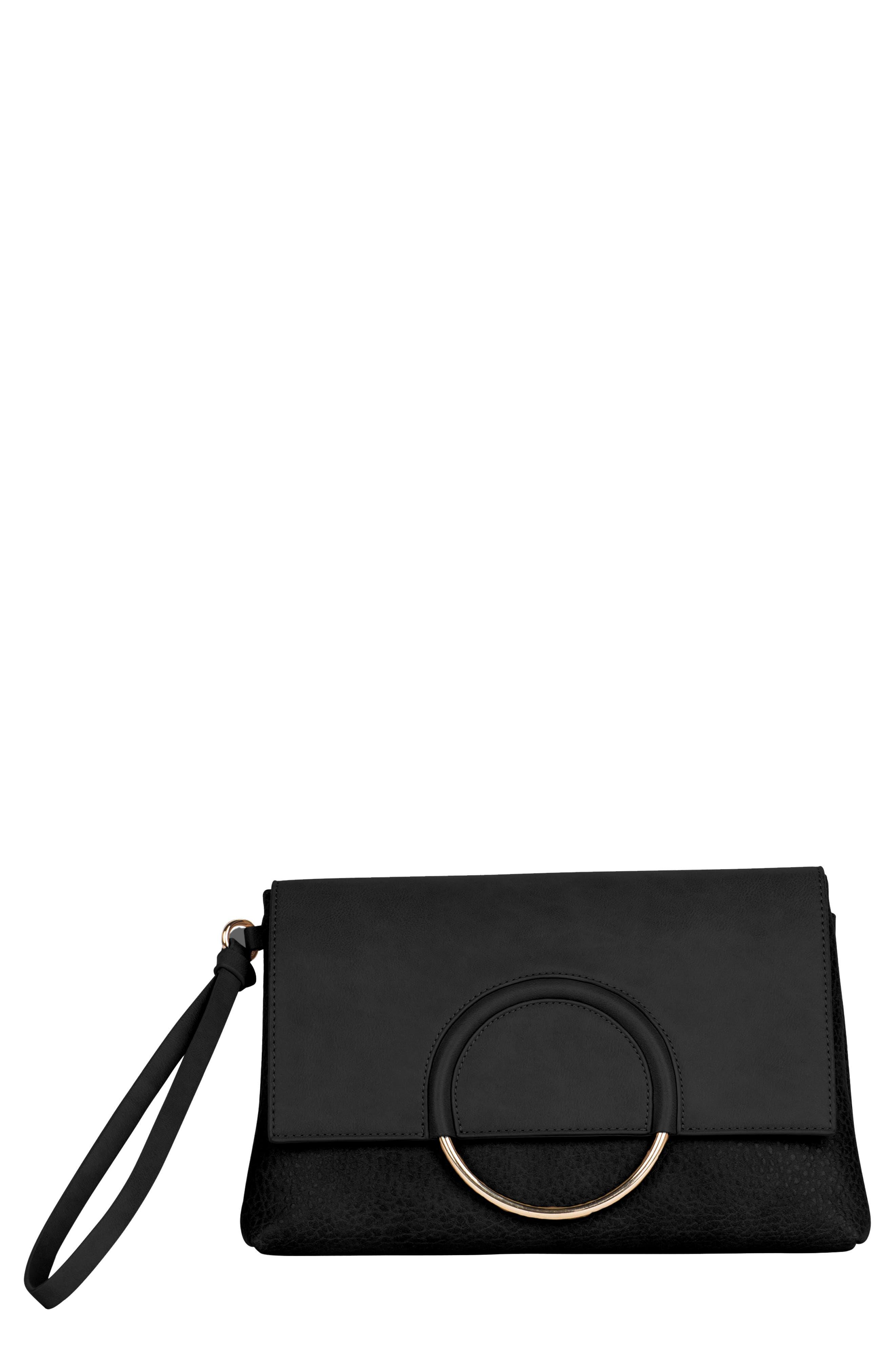Custom Vegan Leather Wristlet Clutch,                             Main thumbnail 1, color,                             BLACK