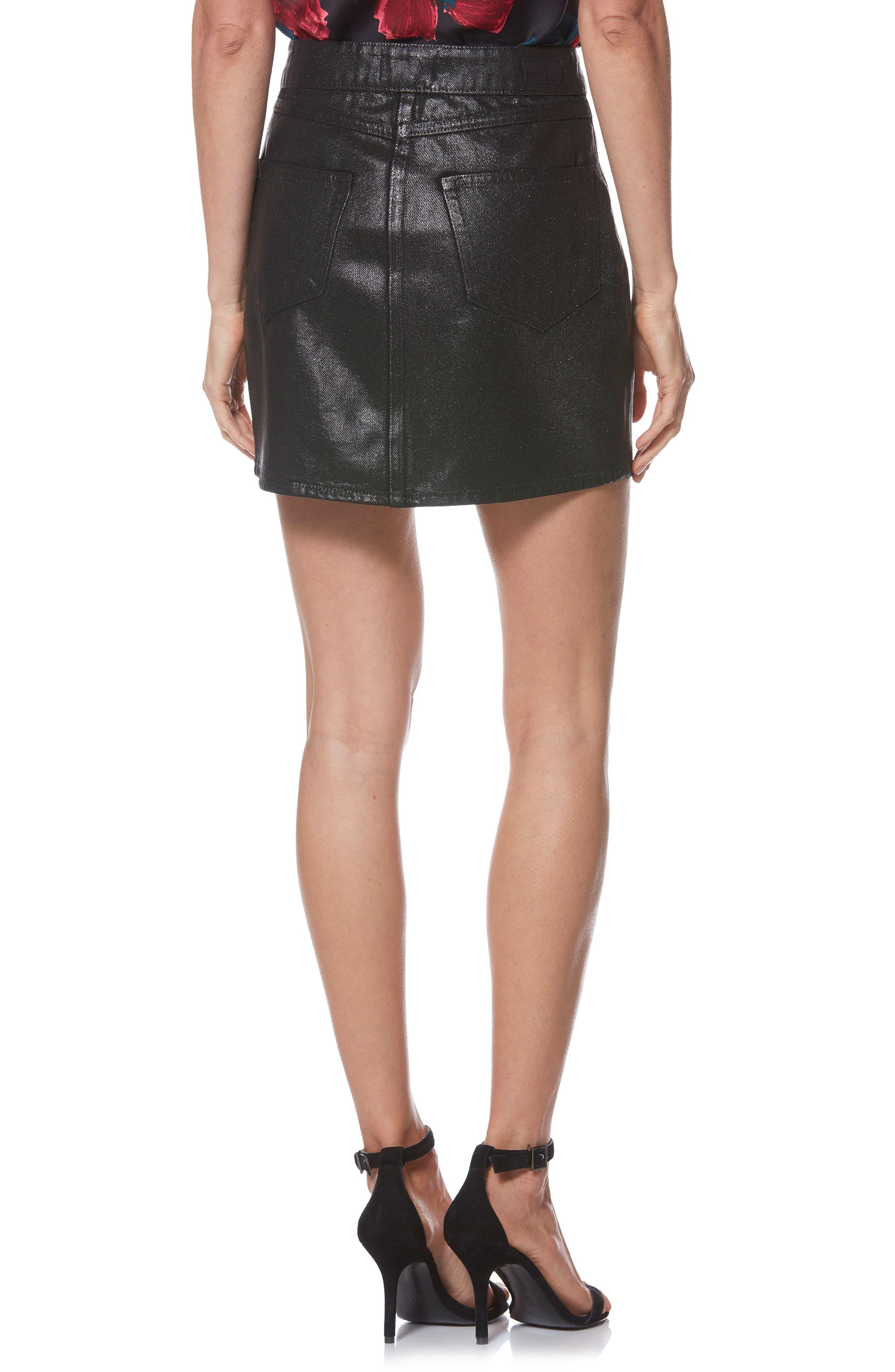Jamine Zip Front Skirt,                             Alternate thumbnail 2, color,                             SPARKLE COATING