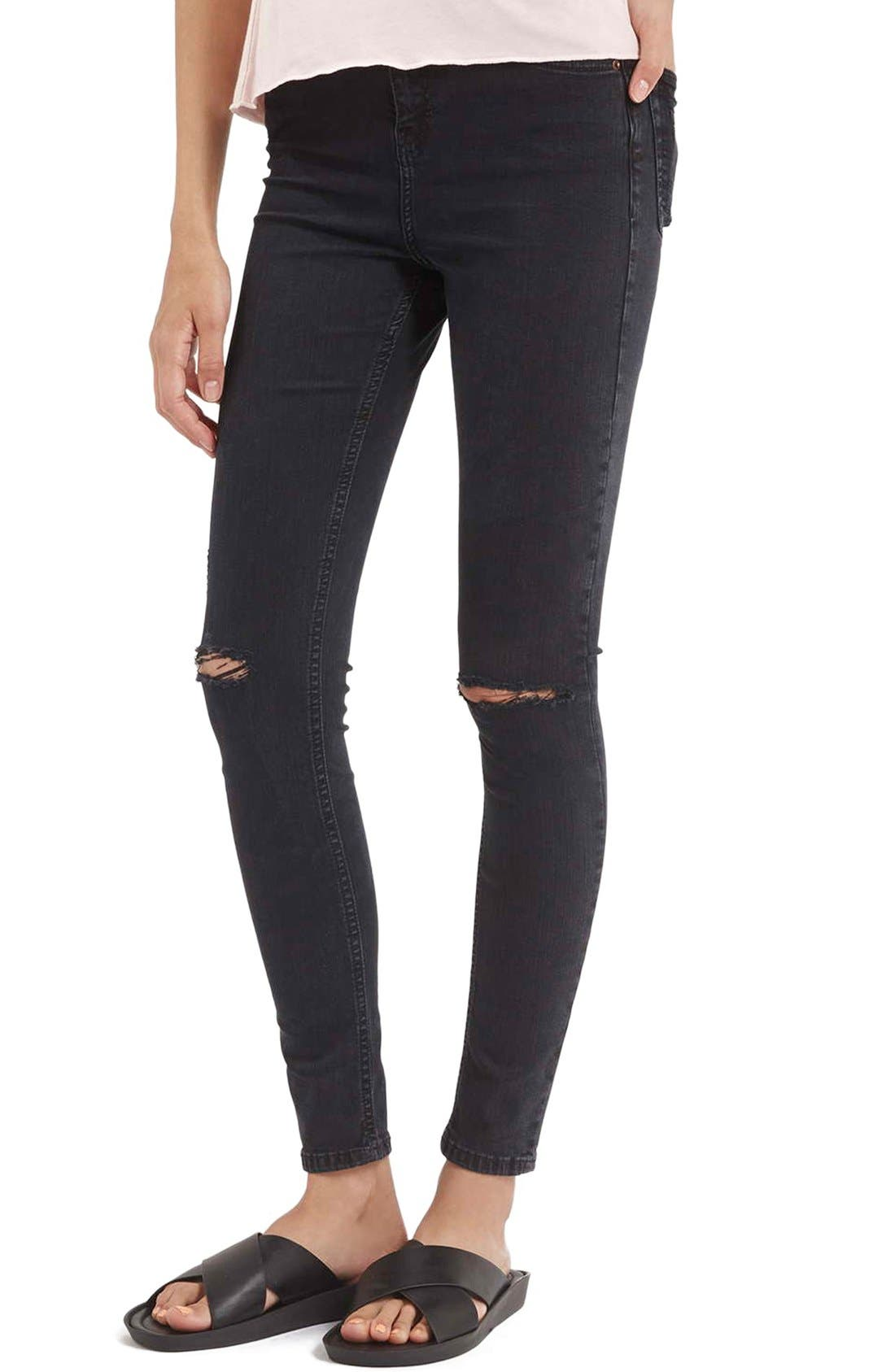 TOPSHOP,                             Moto 'Jamie' Ripped Skinny Jeans,                             Main thumbnail 1, color,                             001