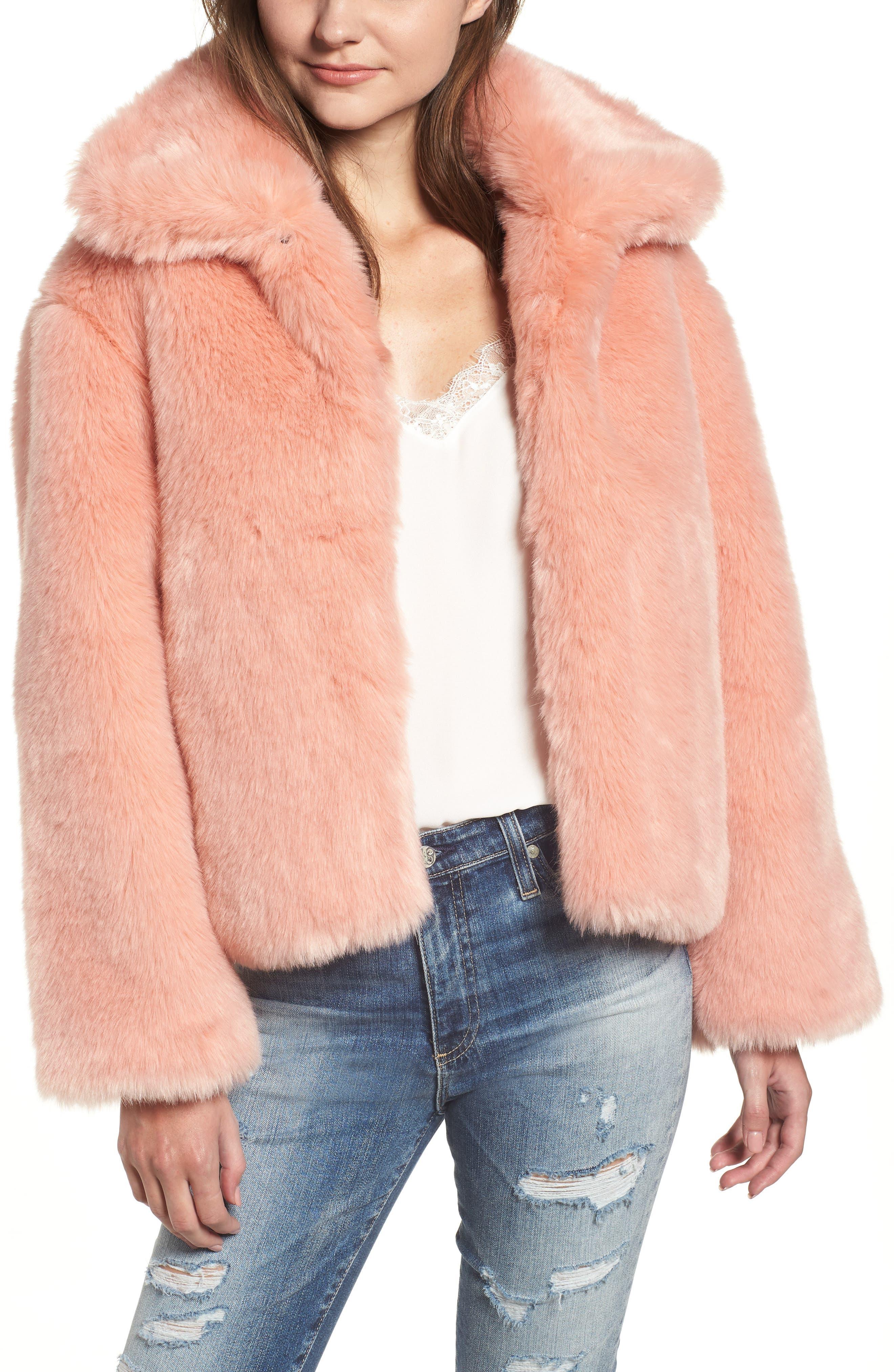 Boxy Faux Fur Coat,                             Main thumbnail 1, color,                             CHERRY BLOSSOM