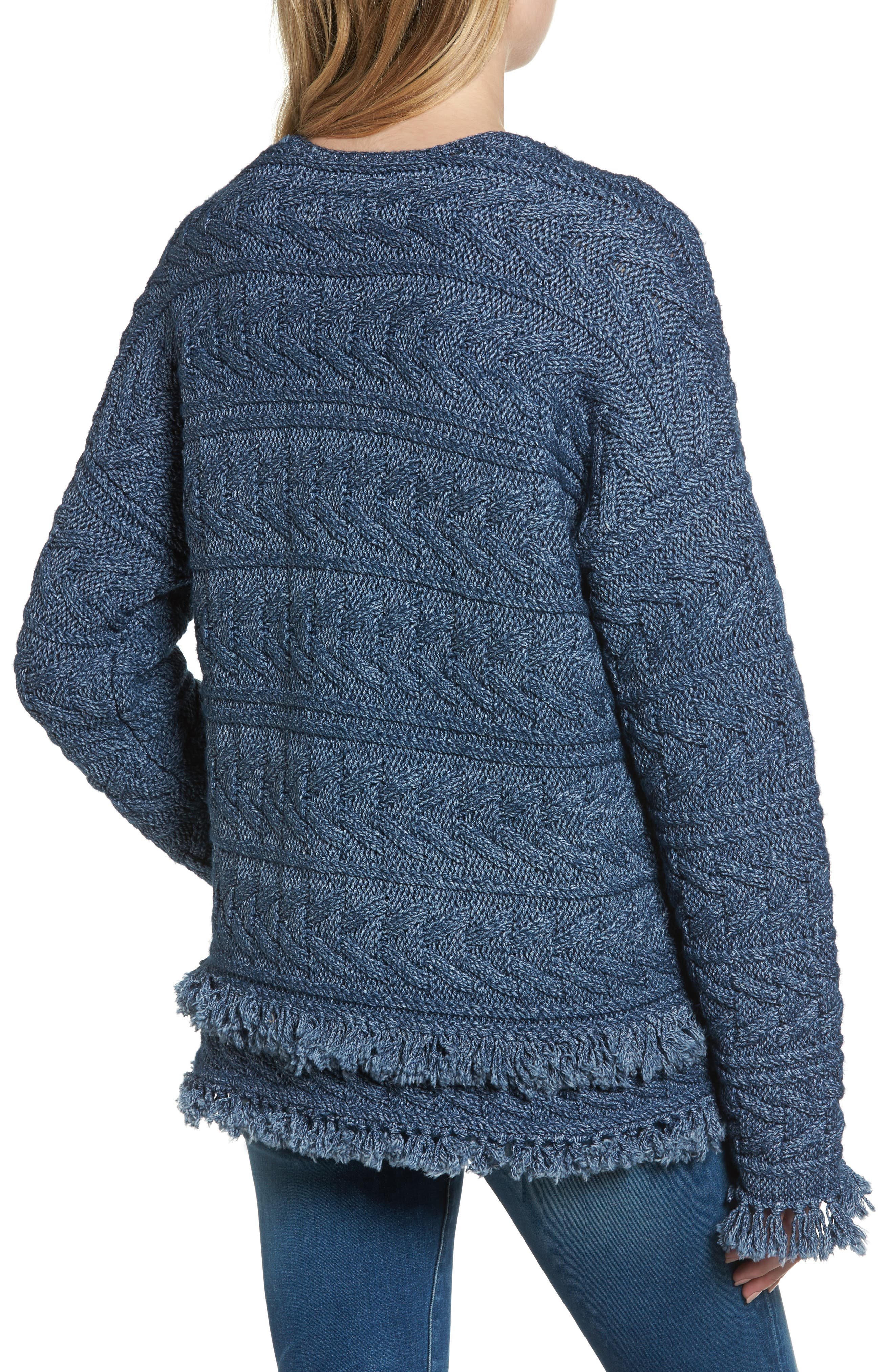 The Cable Fringe Sweater,                             Alternate thumbnail 2, color,                             409