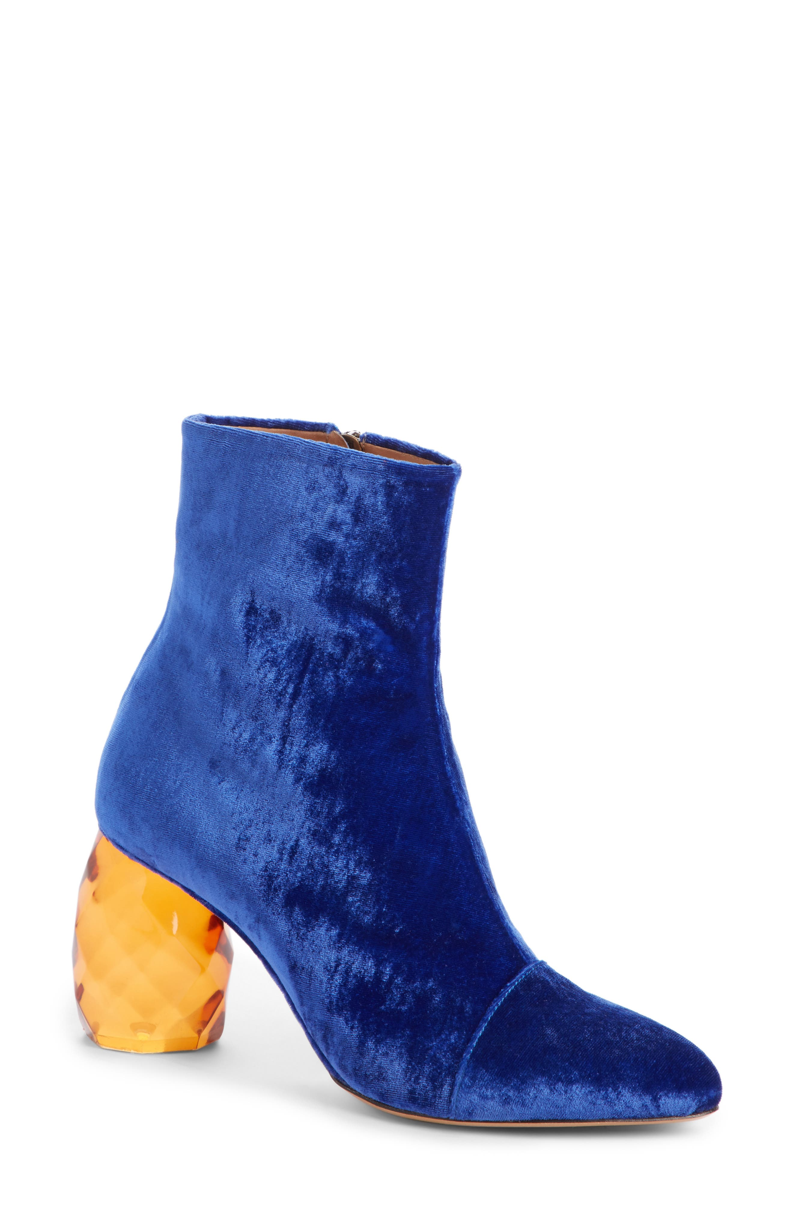 Faceted Heel Pointy Toe Bootie,                             Main thumbnail 1, color,                             400