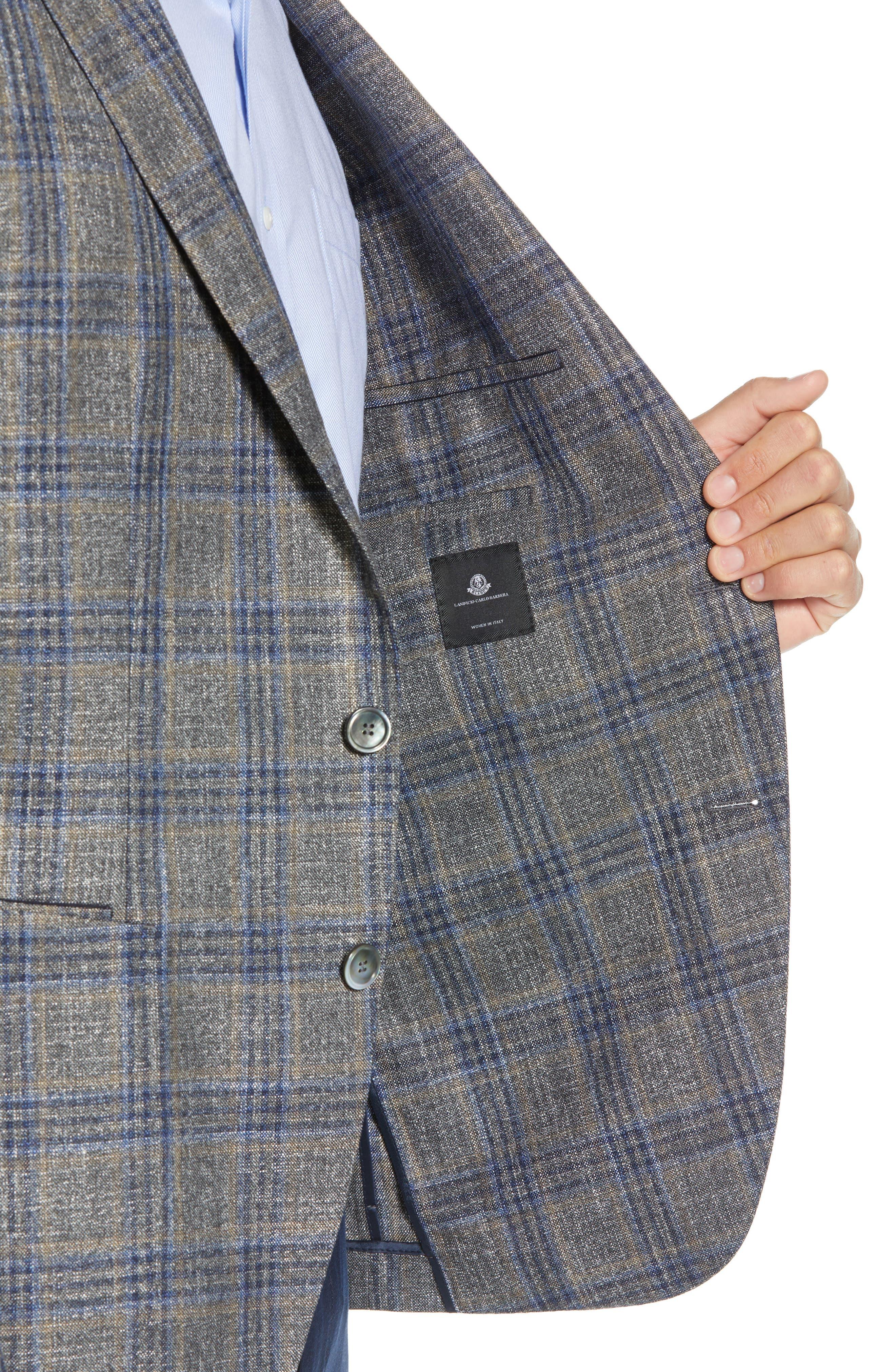 Heston Trim Fit Plaid Wool Blend Sport Coat,                             Alternate thumbnail 4, color,                             TAN