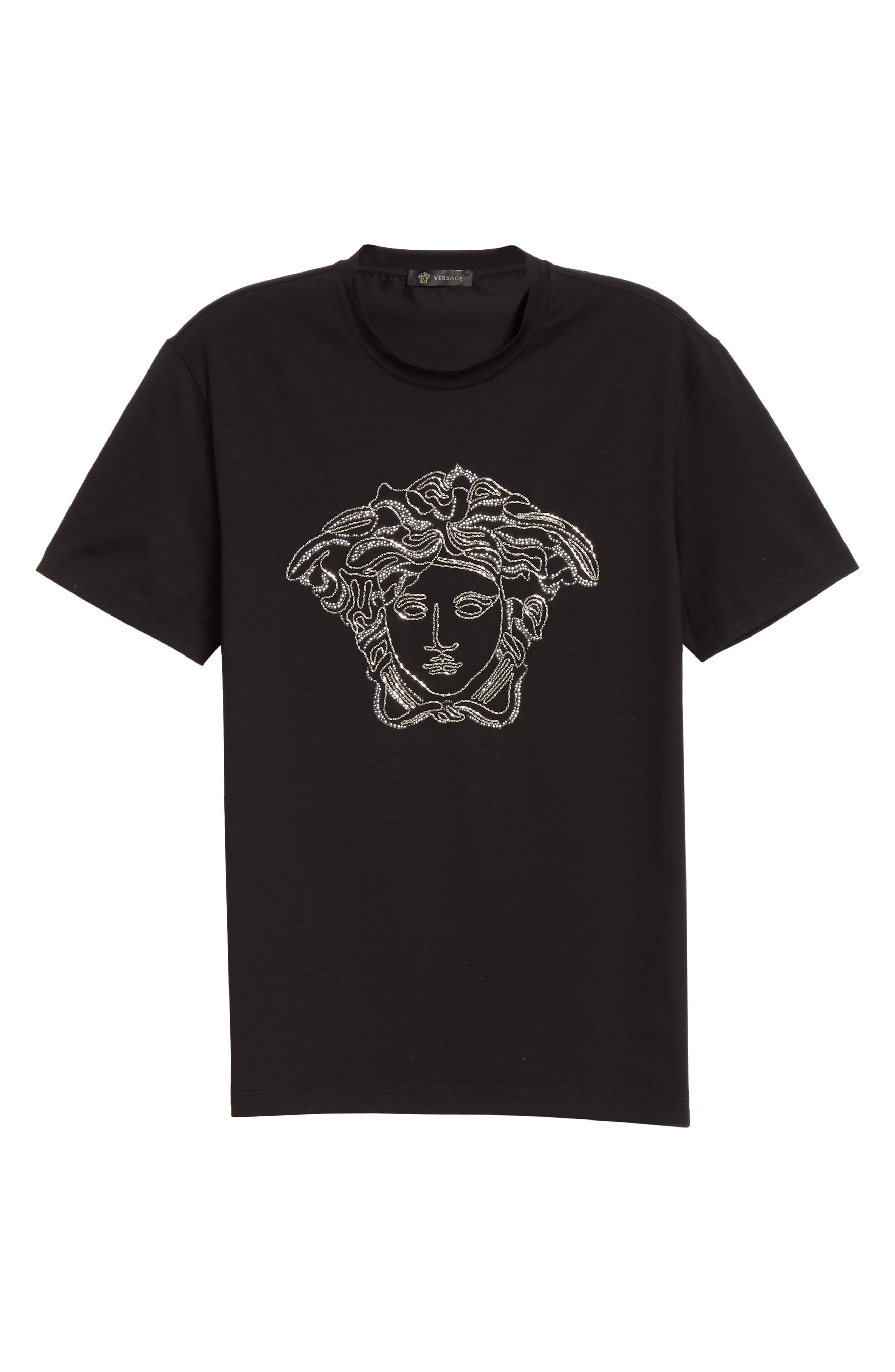 VERSACE,                             Beaded Medusa T-Shirt,                             Alternate thumbnail 6, color,                             BLACK