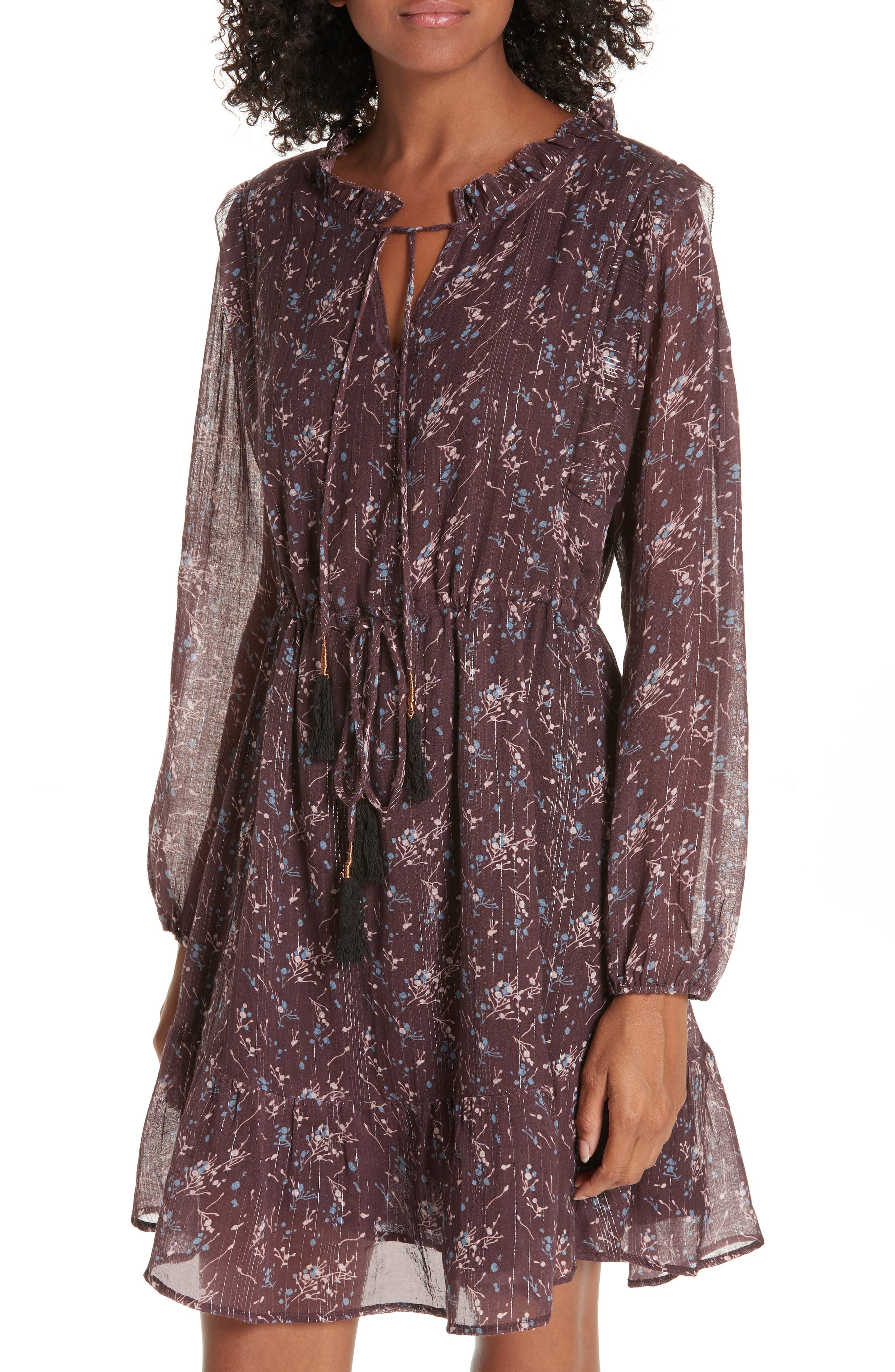 Ruffled Drawstring Waist Dress,                             Alternate thumbnail 4, color,                             BROWN PLUM BLOSSOM