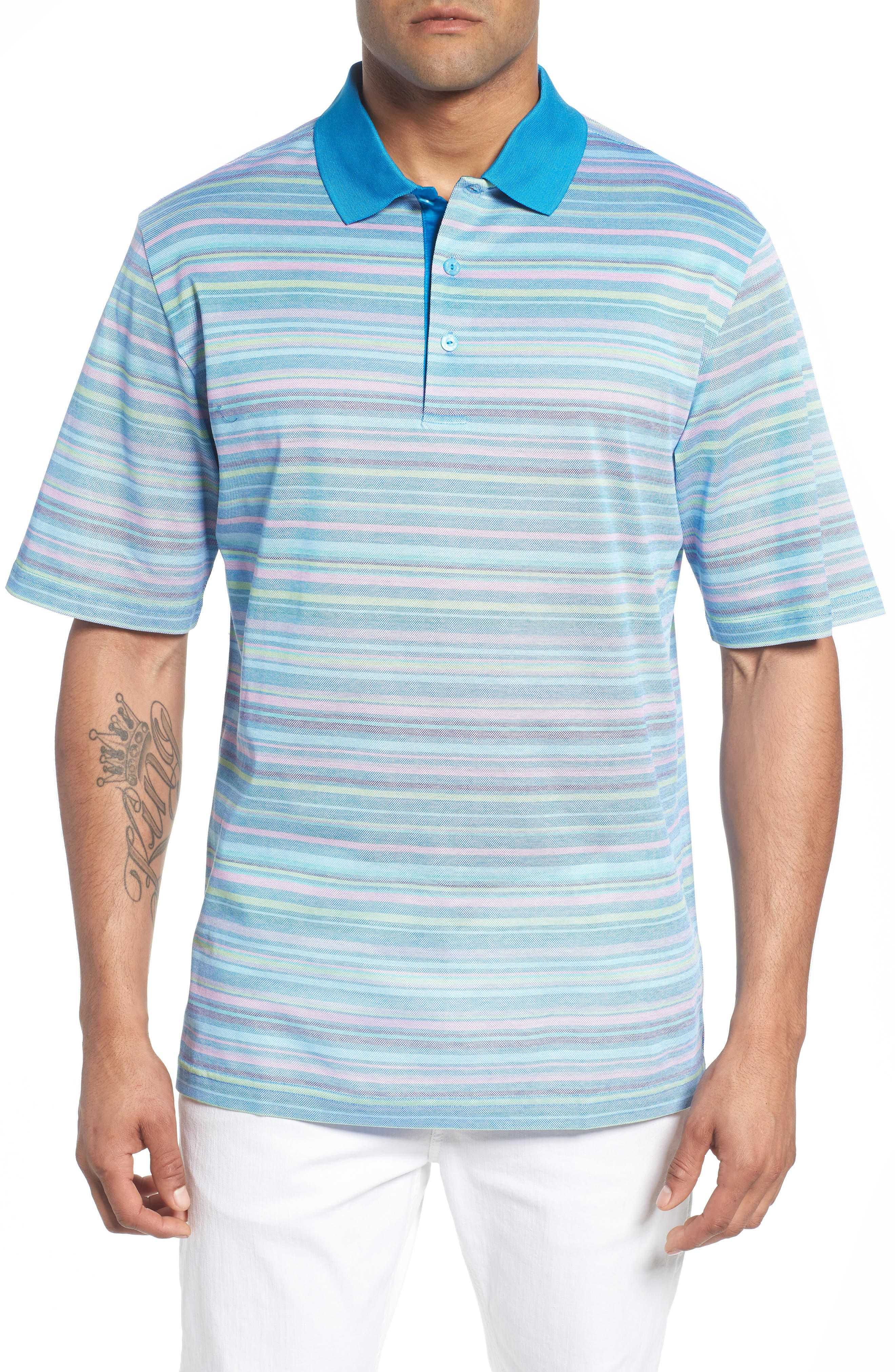 Stripe Mercerized Cotton Polo,                         Main,                         color, 459