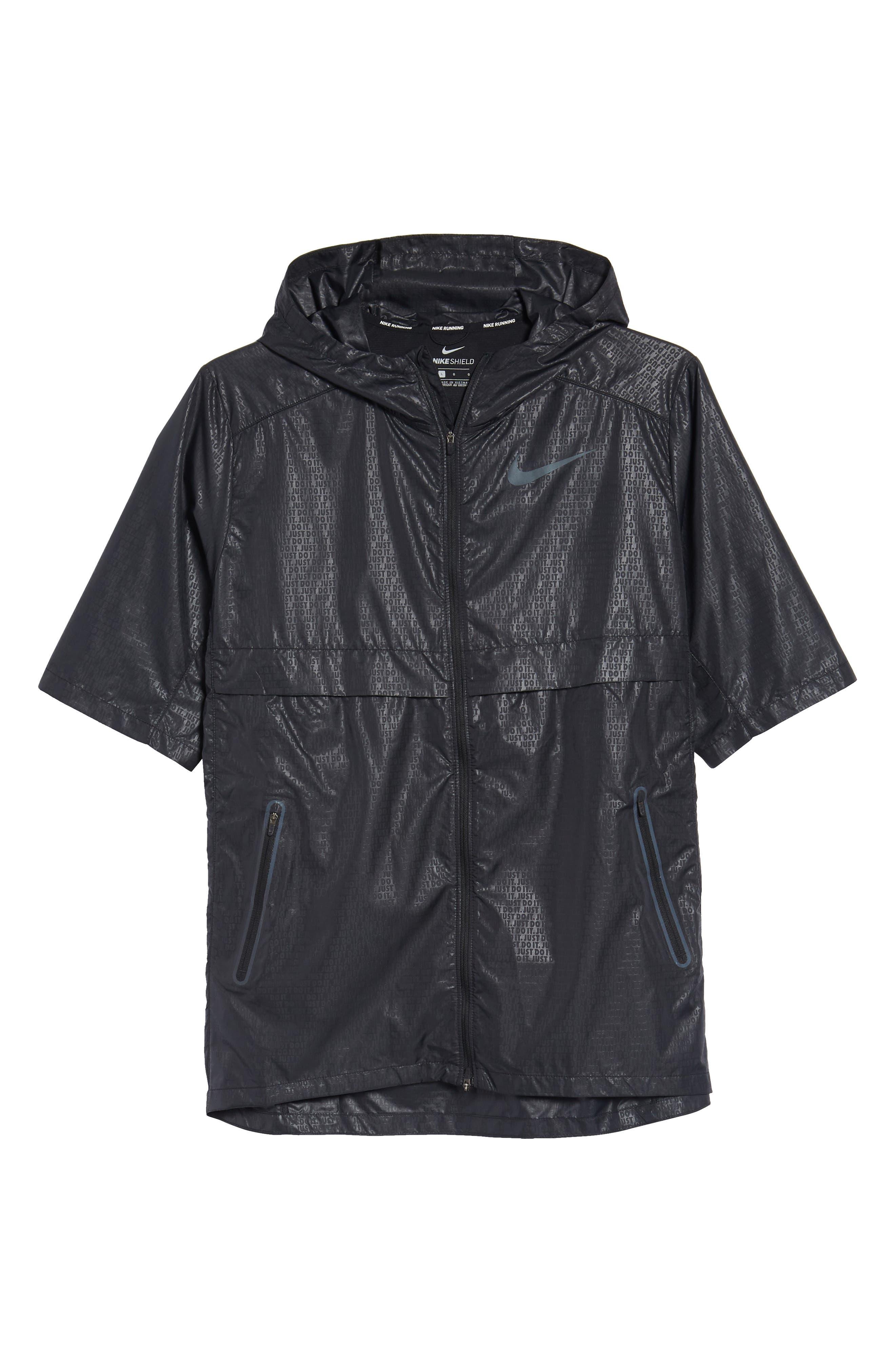 Running Shield Short Sleeve Hooded Jacket,                             Alternate thumbnail 6, color,                             BLACK
