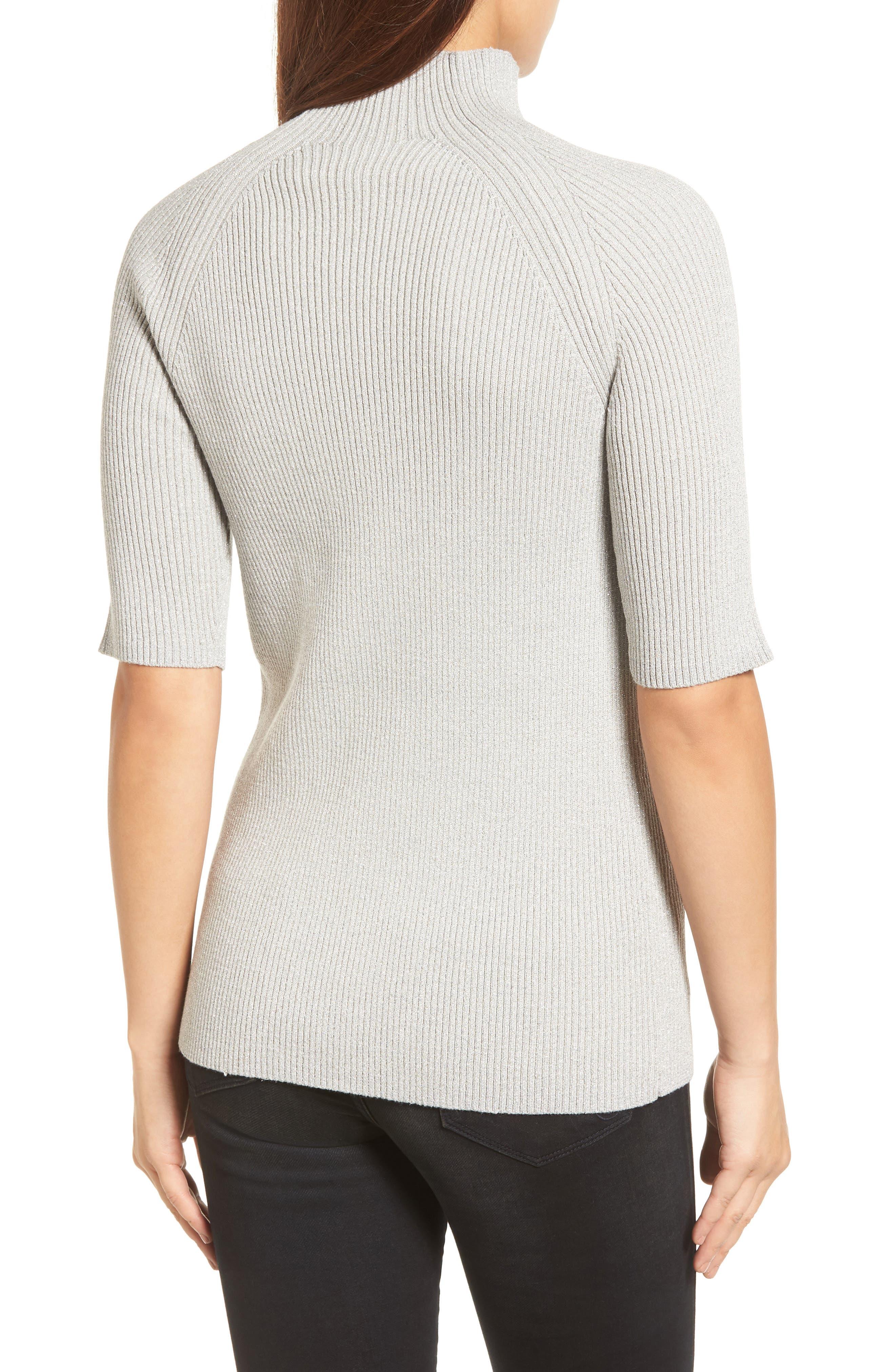 Elbow Sleeve Mock Neck Sweater,                             Alternate thumbnail 2, color,                             LIGHT GRAY