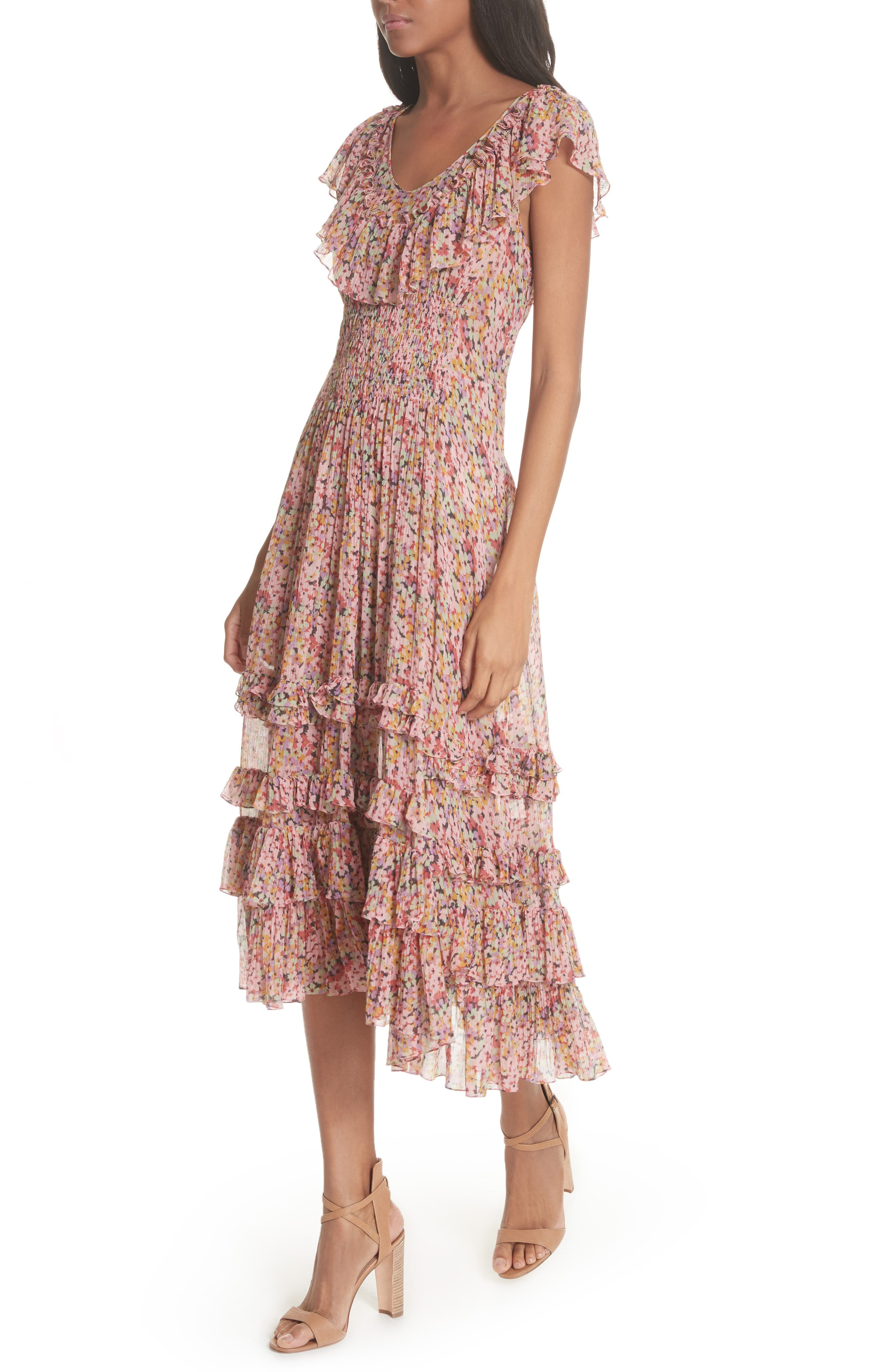 Margo Floral Ruffled Midi Dress,                             Alternate thumbnail 4, color,                             686