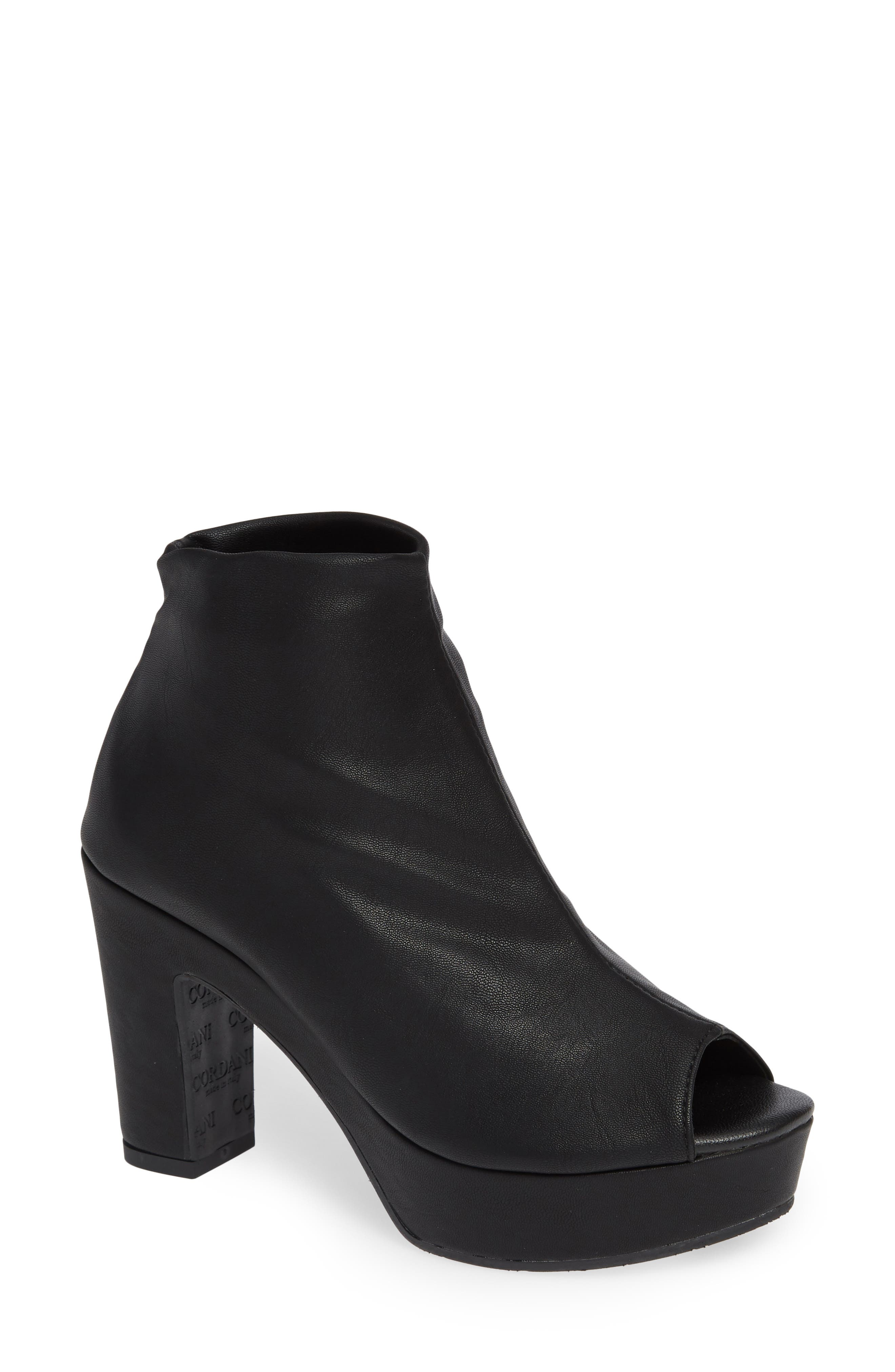 Tyra Peep Toe Platform Bootie,                             Main thumbnail 1, color,                             BLACK FABRIC
