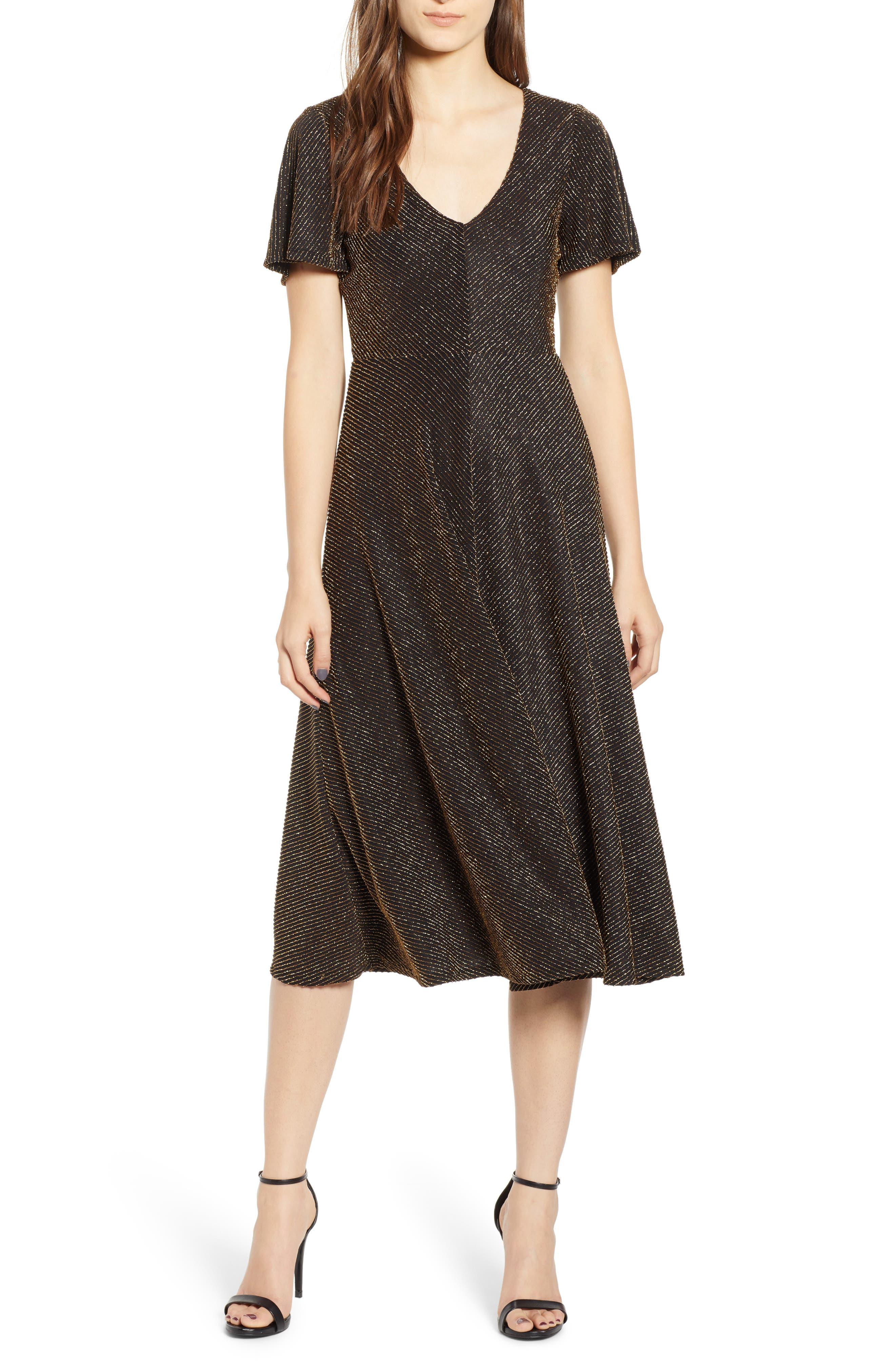 Leith Metallic Stripe Midi Dress, Black