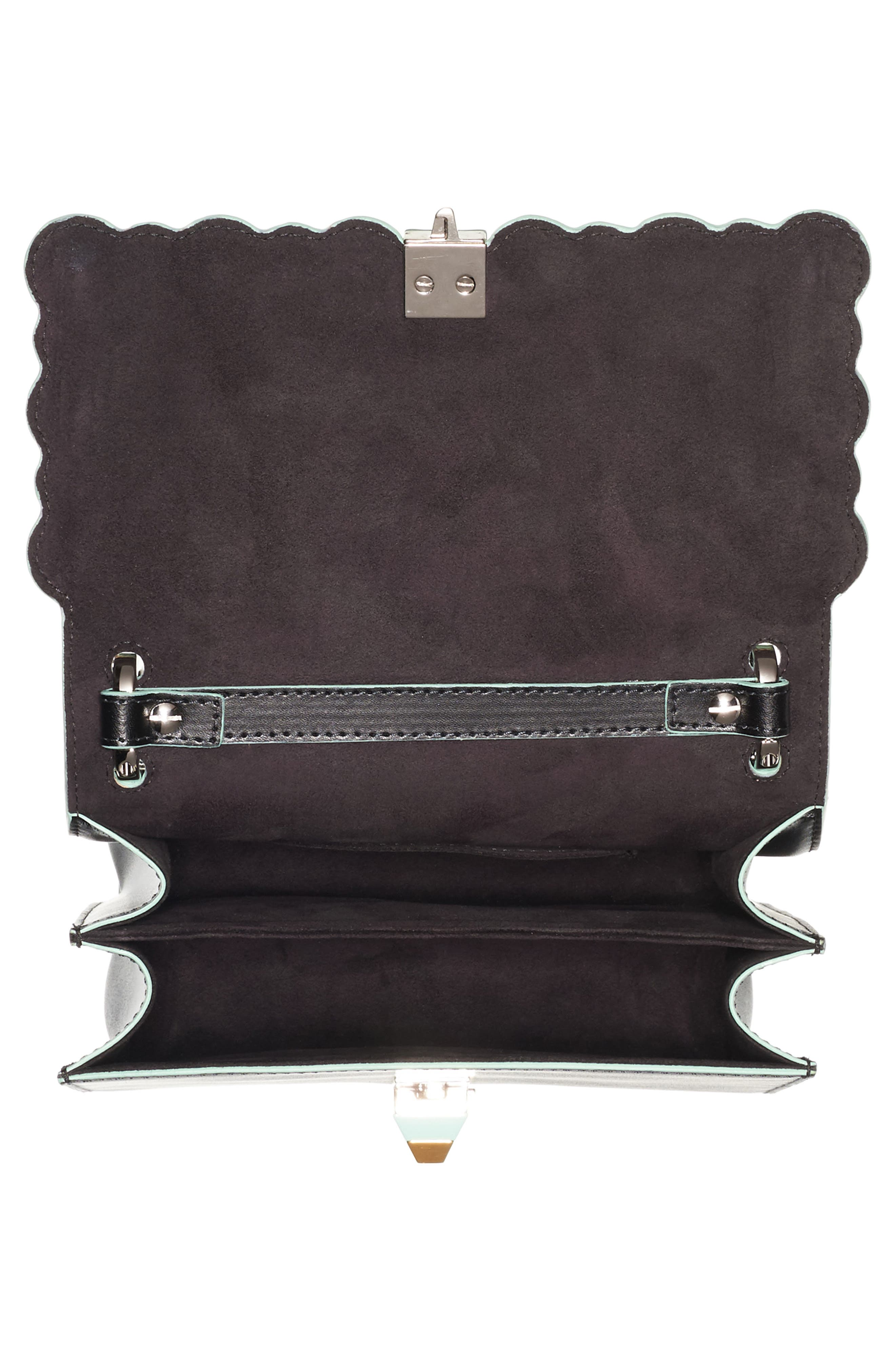 Mini Kan I Dégradé Stud Calfskin Shoulder Bag,                             Alternate thumbnail 4, color,                             BLACK/GREEN MULTI