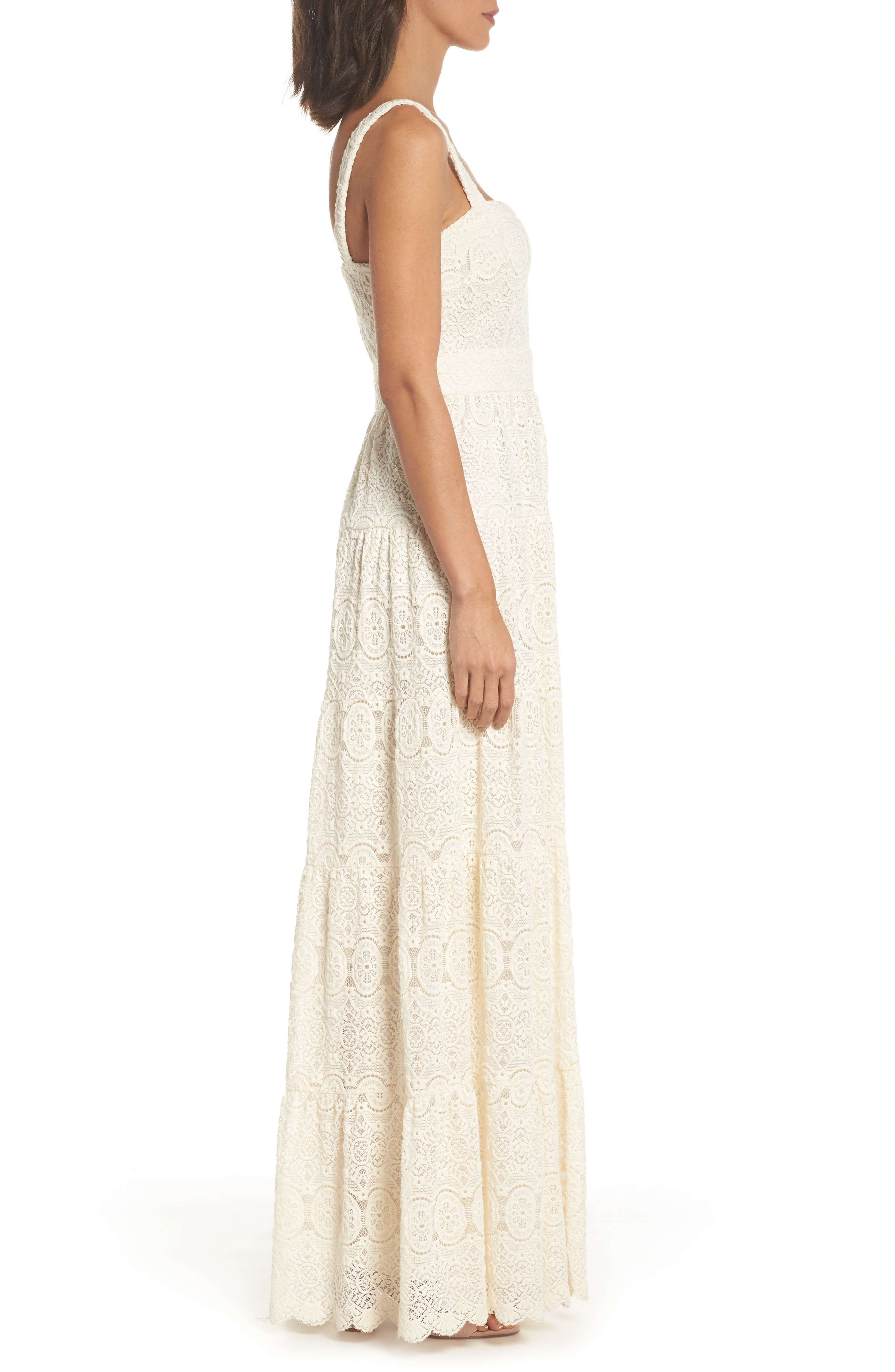 Tiered Lace Maxi Dress,                             Alternate thumbnail 3, color,                             900