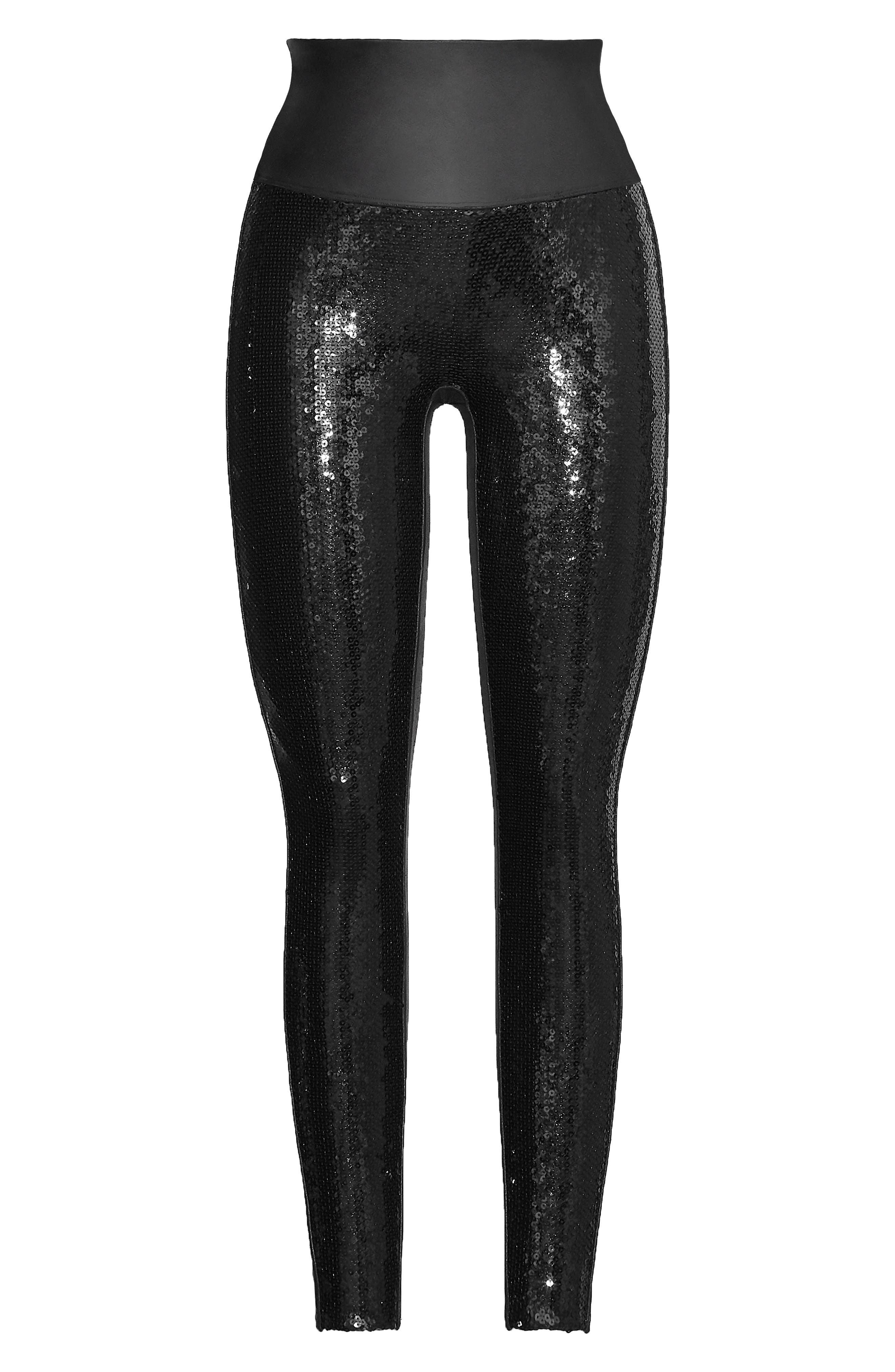 Sequin Faux Leather Leggings,                             Alternate thumbnail 7, color,                             BLACK SEQUIN