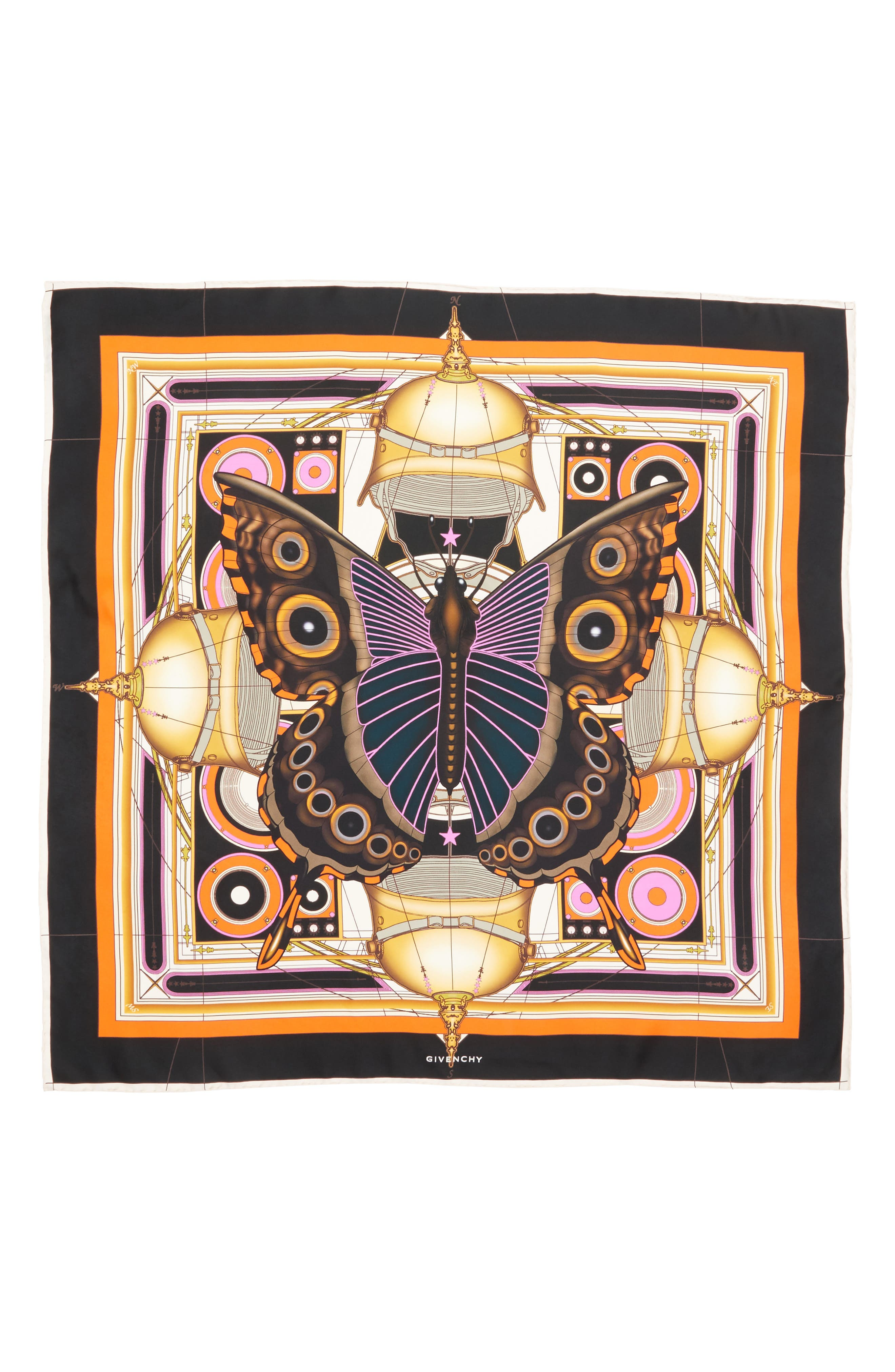 New Butterfly Silk Scarf,                             Alternate thumbnail 3, color,                             001
