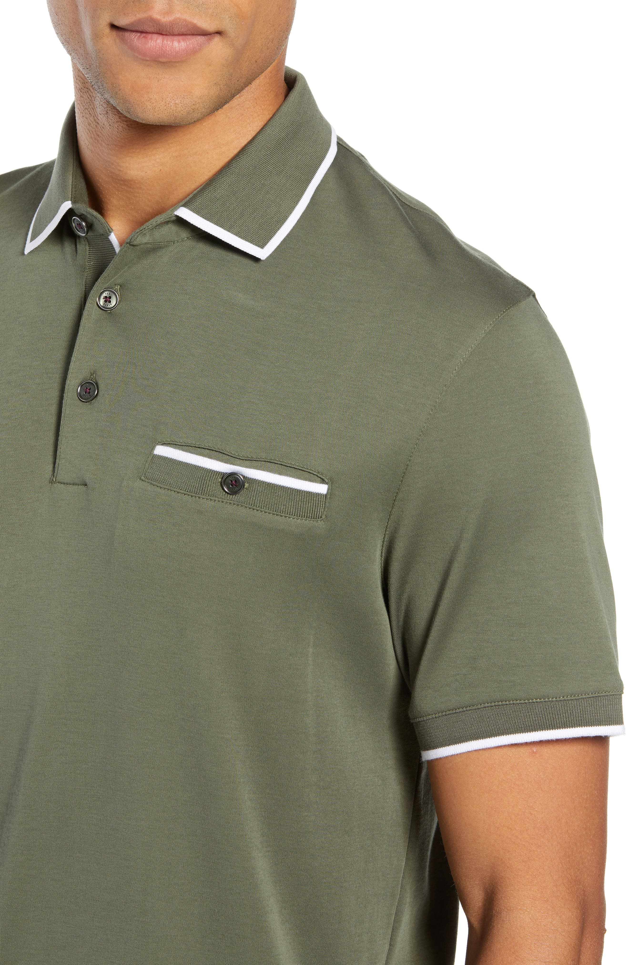 Jelly Slim Fit Tipped Pocket Polo,                             Alternate thumbnail 4, color,                             KHAKI