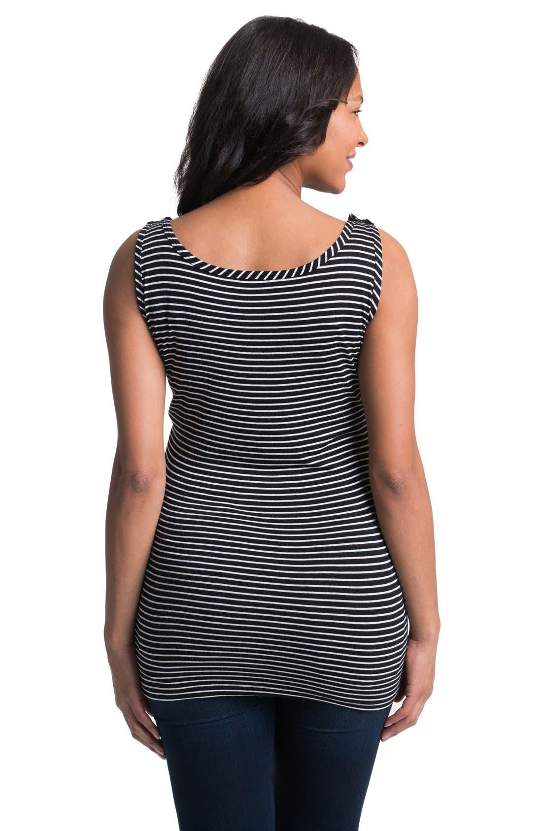Stripe Maternity/Nursing Tank Top,                             Alternate thumbnail 4, color,                             BLACK WHITE
