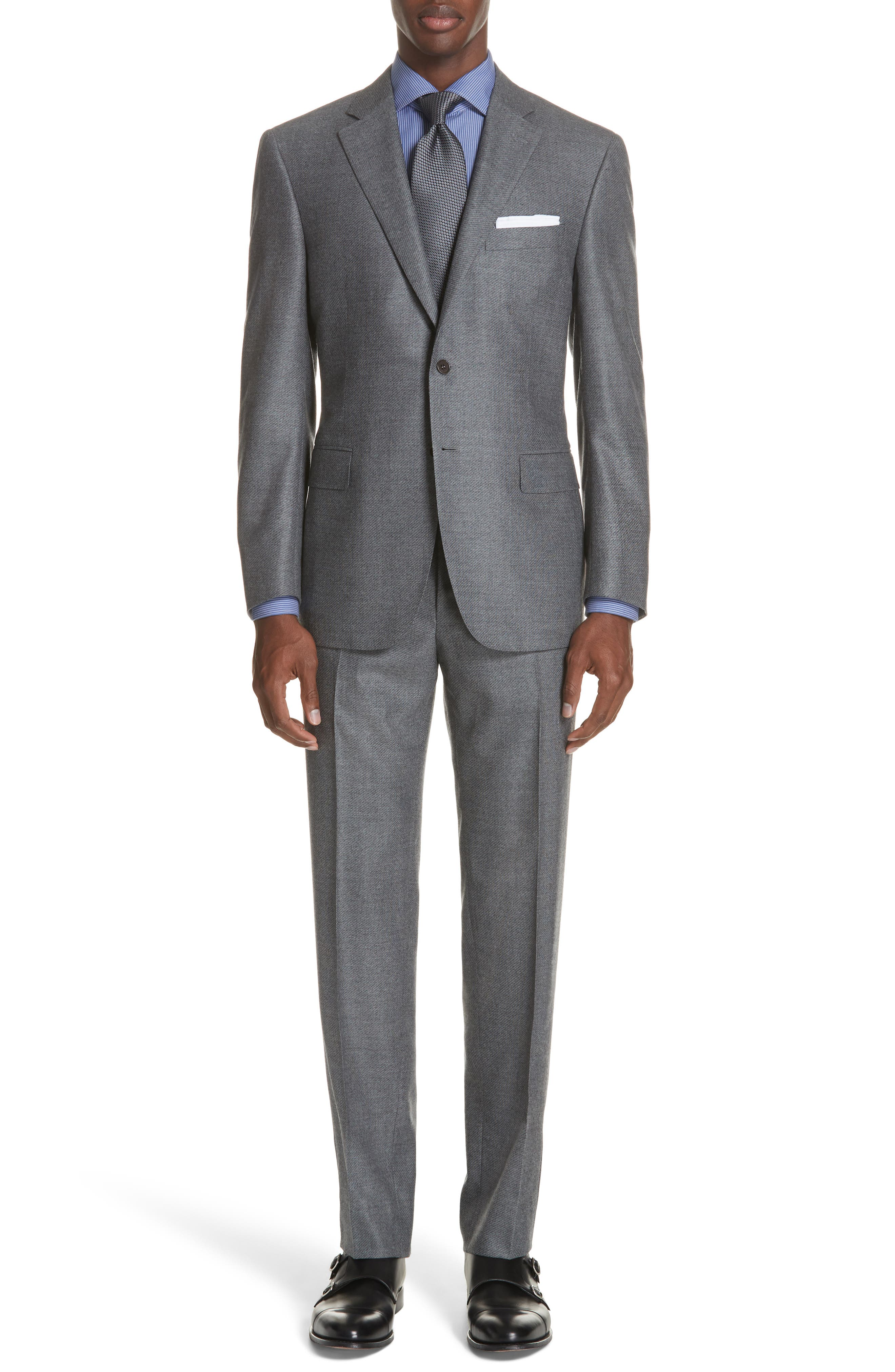 Classic Fit Stretch Solid Wool Suit,                         Main,                         color, MED GREY