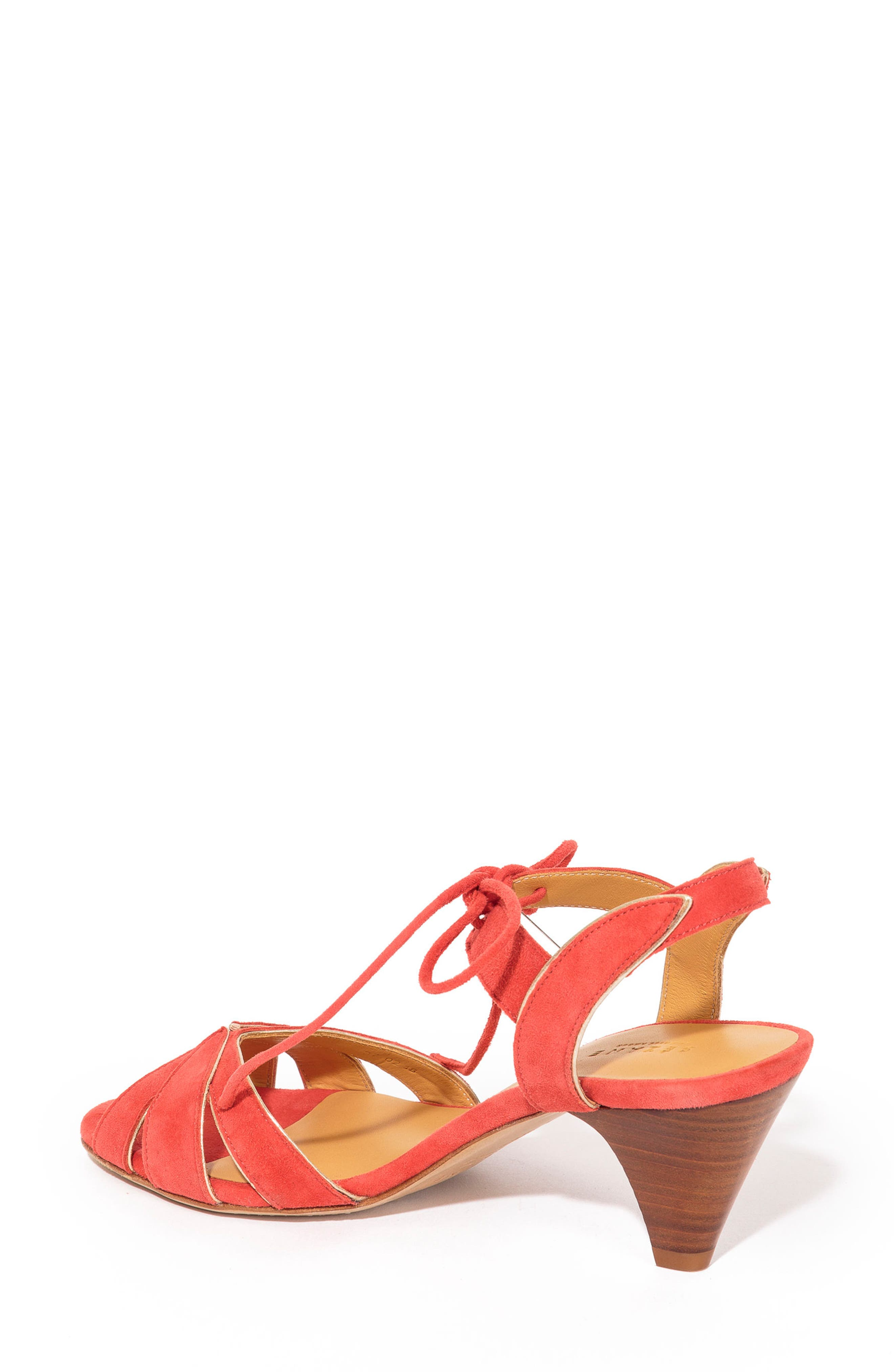 Victoire Ankle Tie Sandal,                             Alternate thumbnail 2, color,                             CORAL RED SUEDE